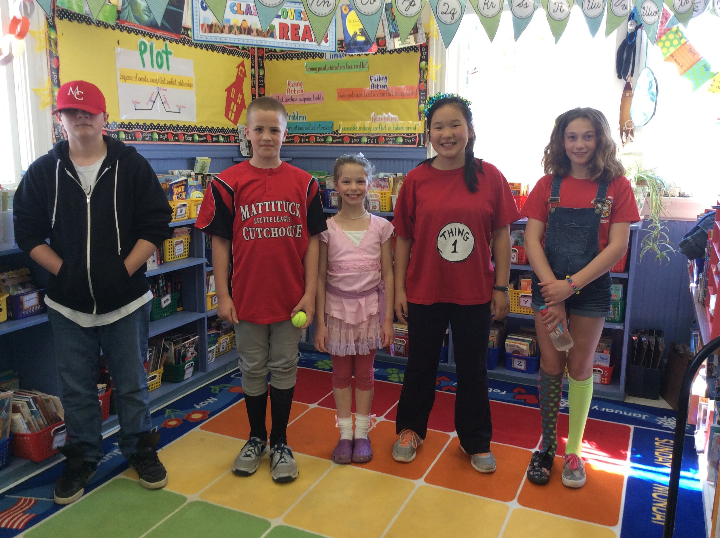 L to R: Jonny as a Baseball character, Casey at the Bat, Fancy Nacy, Thing 1, and Junie B. Jones