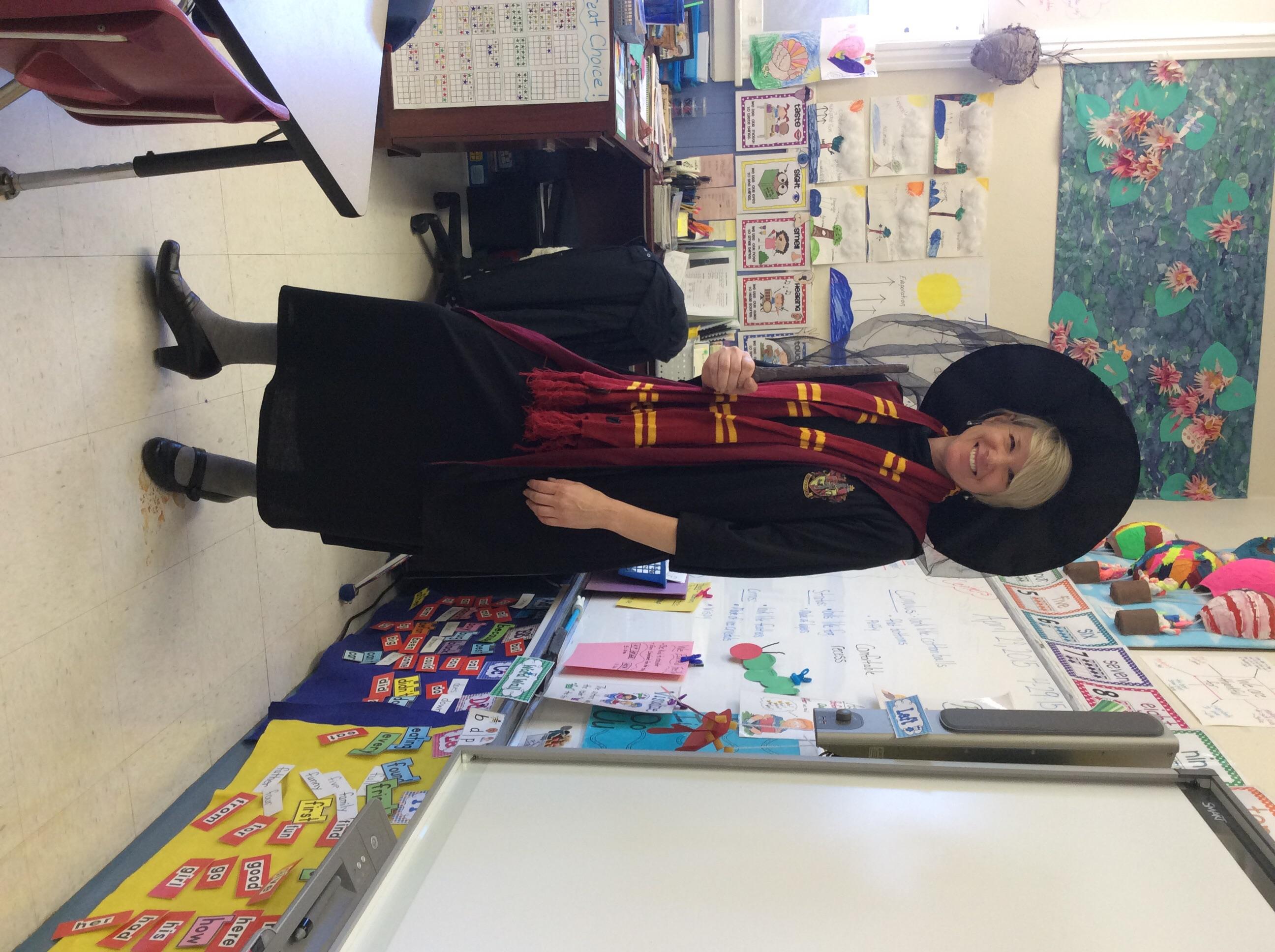 Mrs. Costello is Professor Dumbledor from Harry Potter