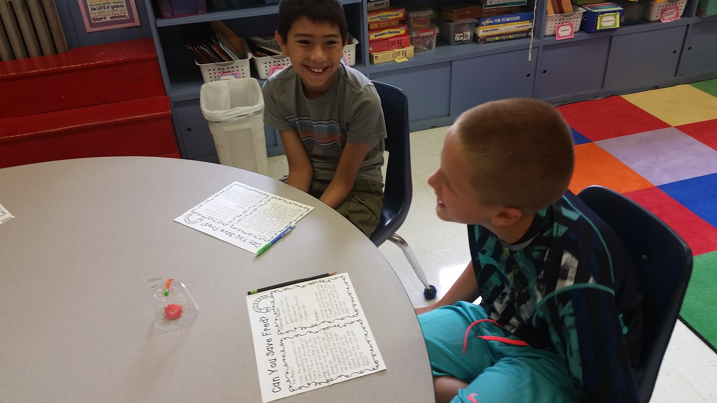 Students work together to save Fred from drowning.