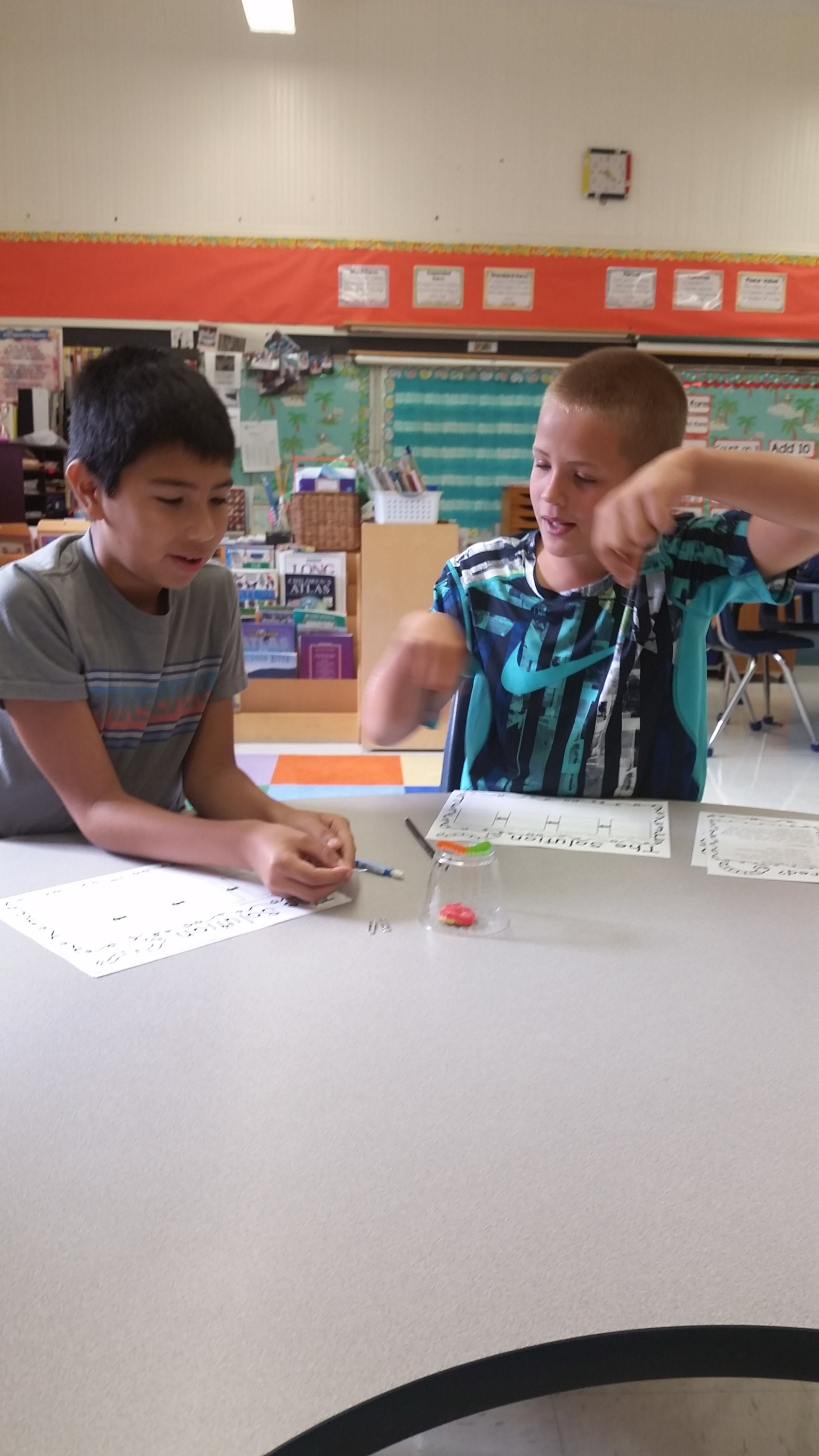 While trying to save fred, students can not touch Fred with their fingers or hands. They can only use 4 paper clips.