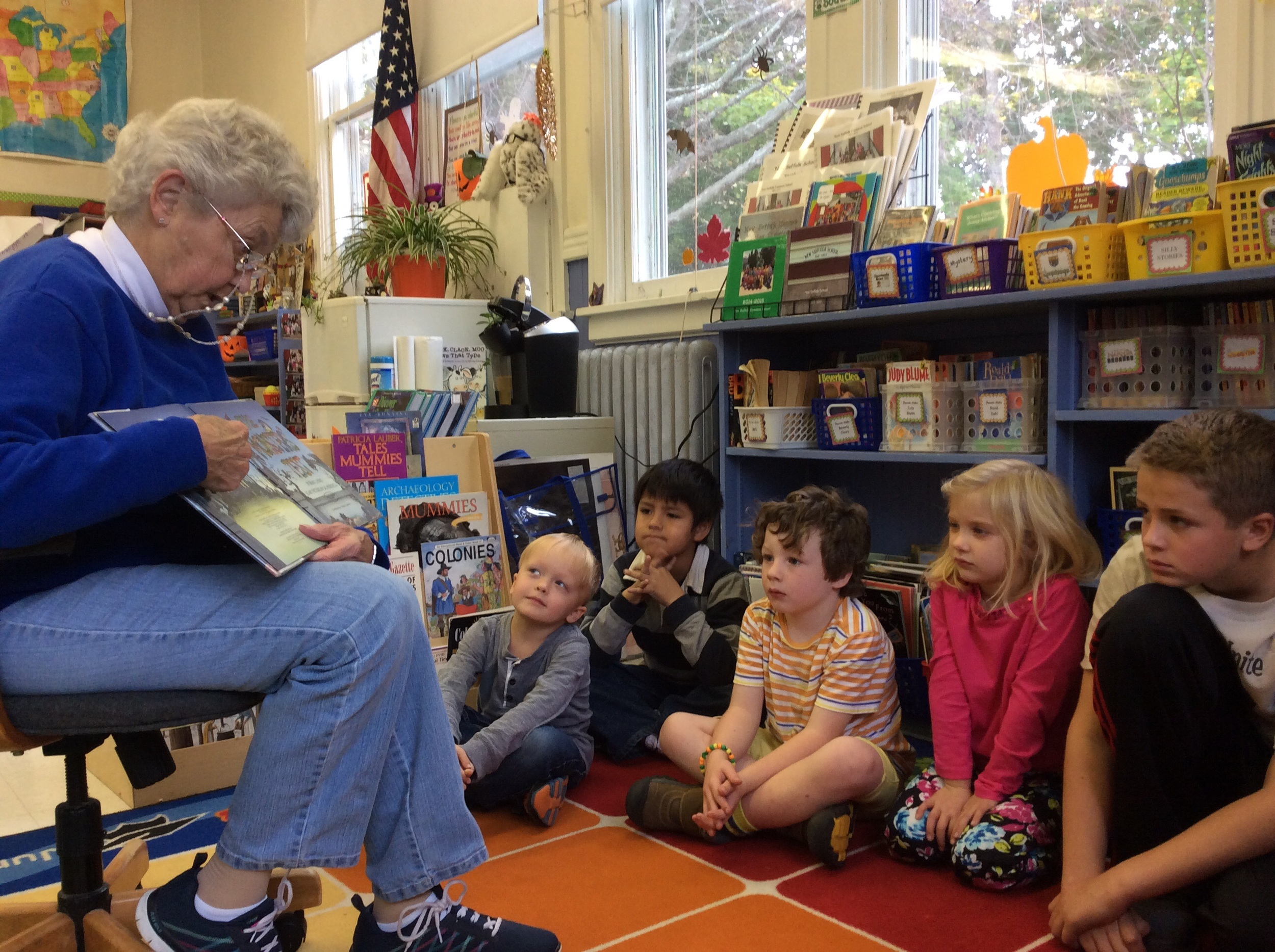 Grammy Cooper visited Robbie and his peers to read a spooky Halloween book.
