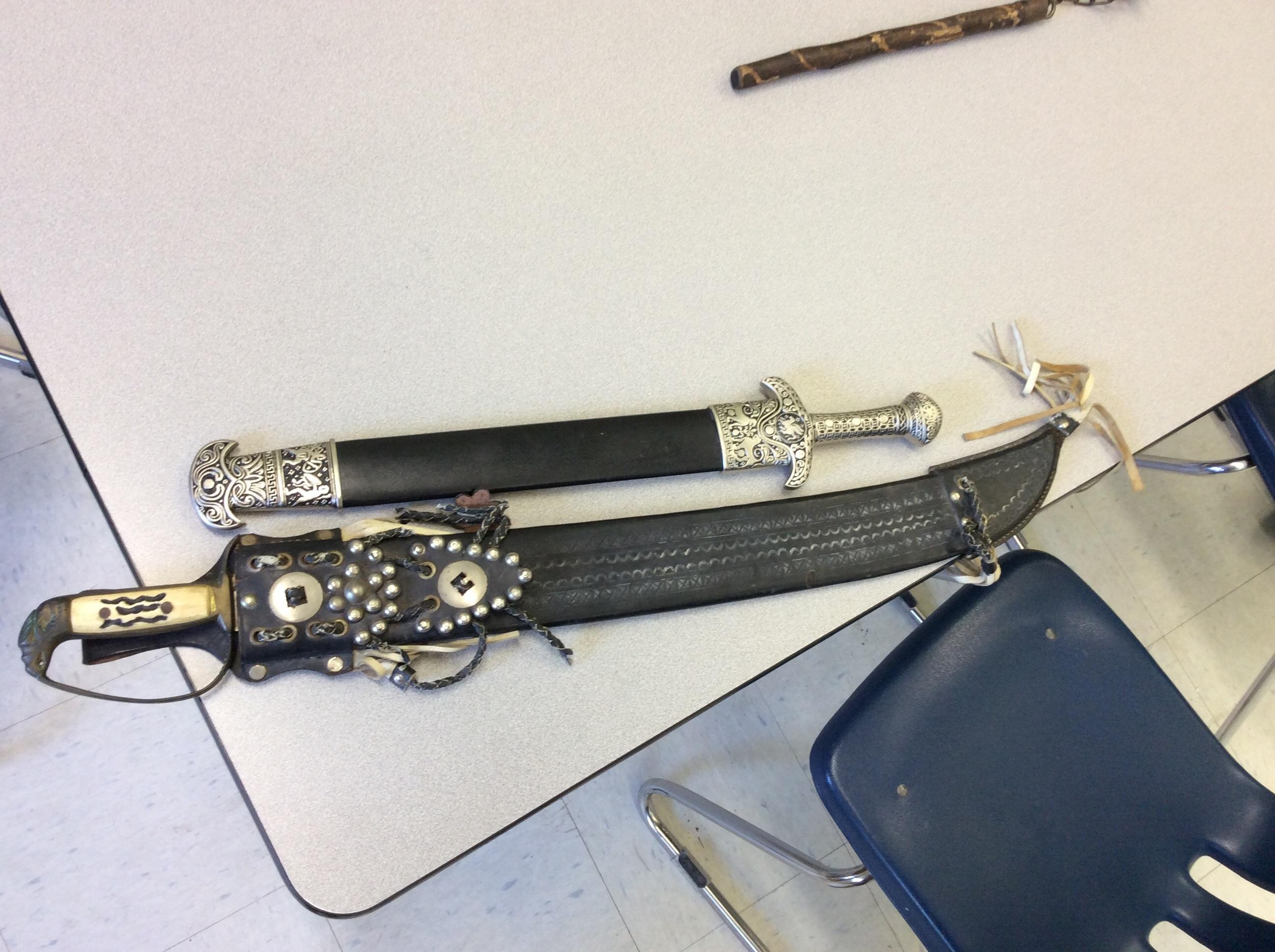 Swords in cases