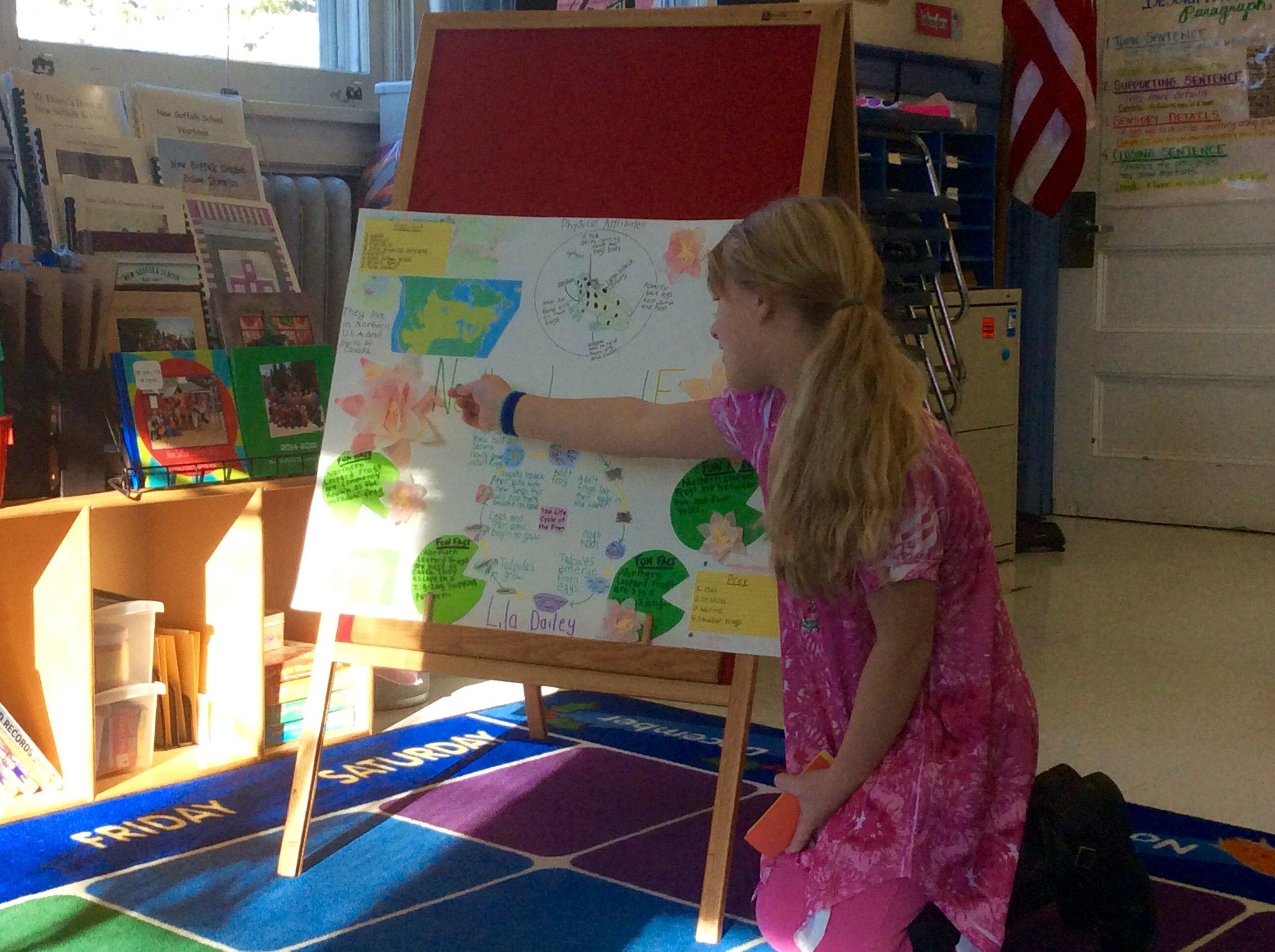 Lila explains the Northern Leopard Frog's habitat