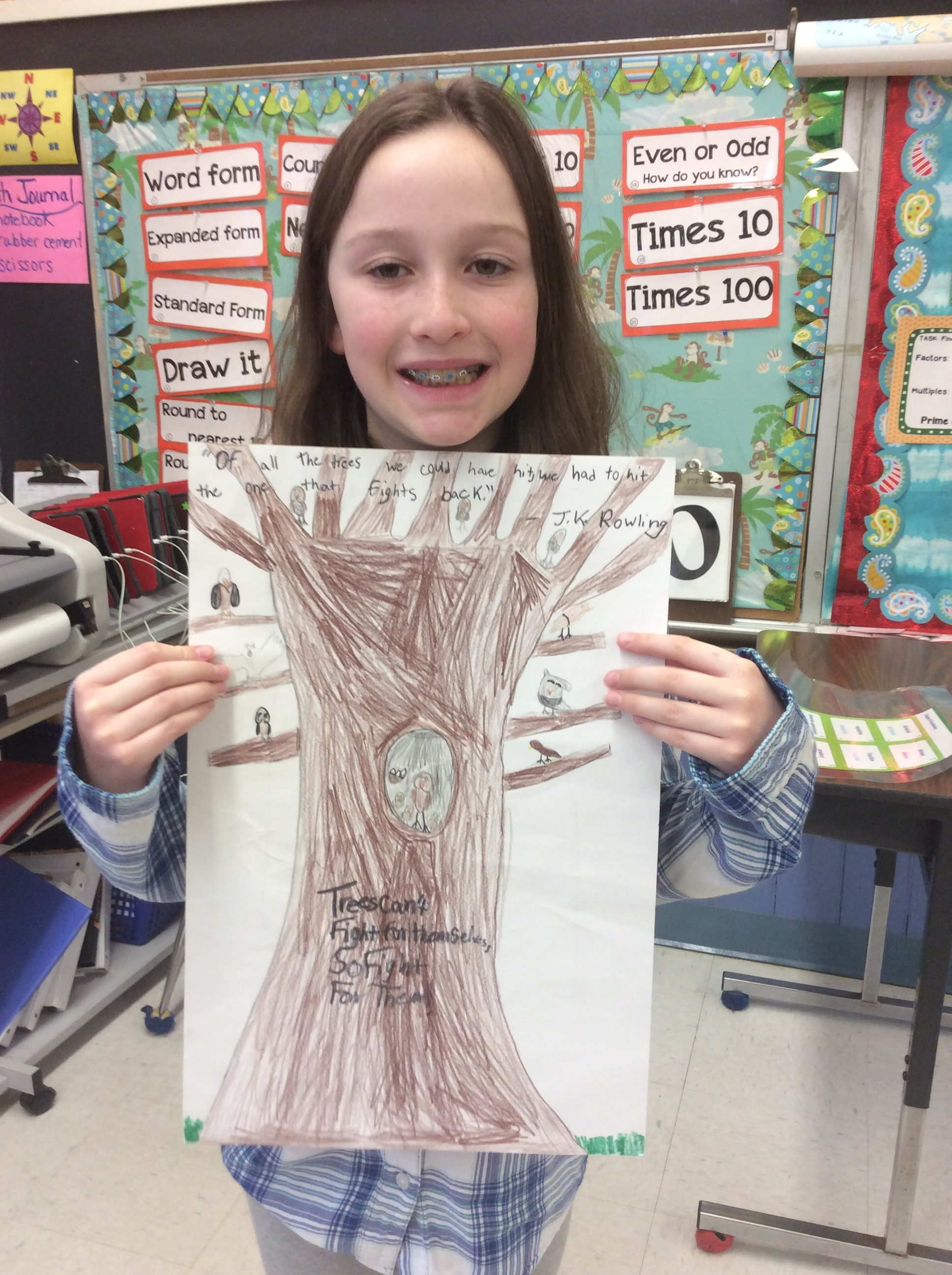 Caroline's poster was influenced by her love of the Harry Potter series.