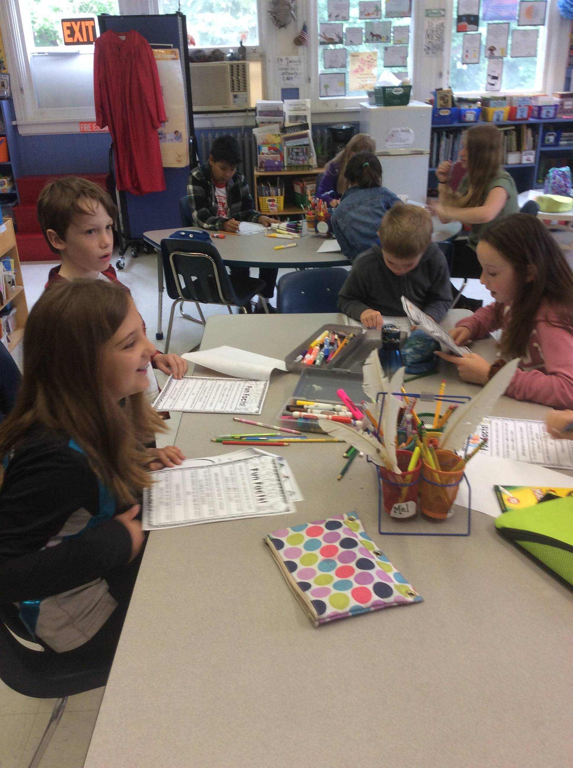 Older students working with the primary students.