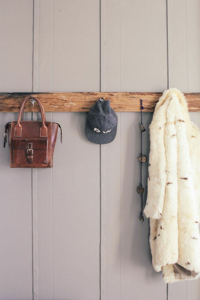 waiting for saturday : rachael wang style.com editor, wooden hanging rack, vintage leather bag, vintage fur coat