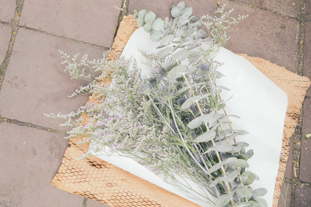 waiting for saturday : bodega flowers eucalyptus, thistle, baby's breath
