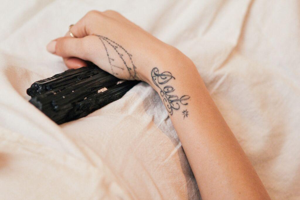 waiting for saturday : pamela love dad tattoo black tourmaline