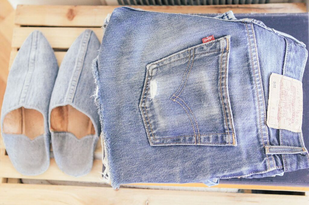 waiting for saturday : rajni jacques vintage levi's cutoffs; brother vellies denim slipper
