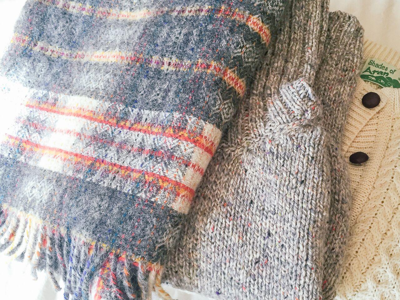 Tweed Project plaid and Aran Islands knits