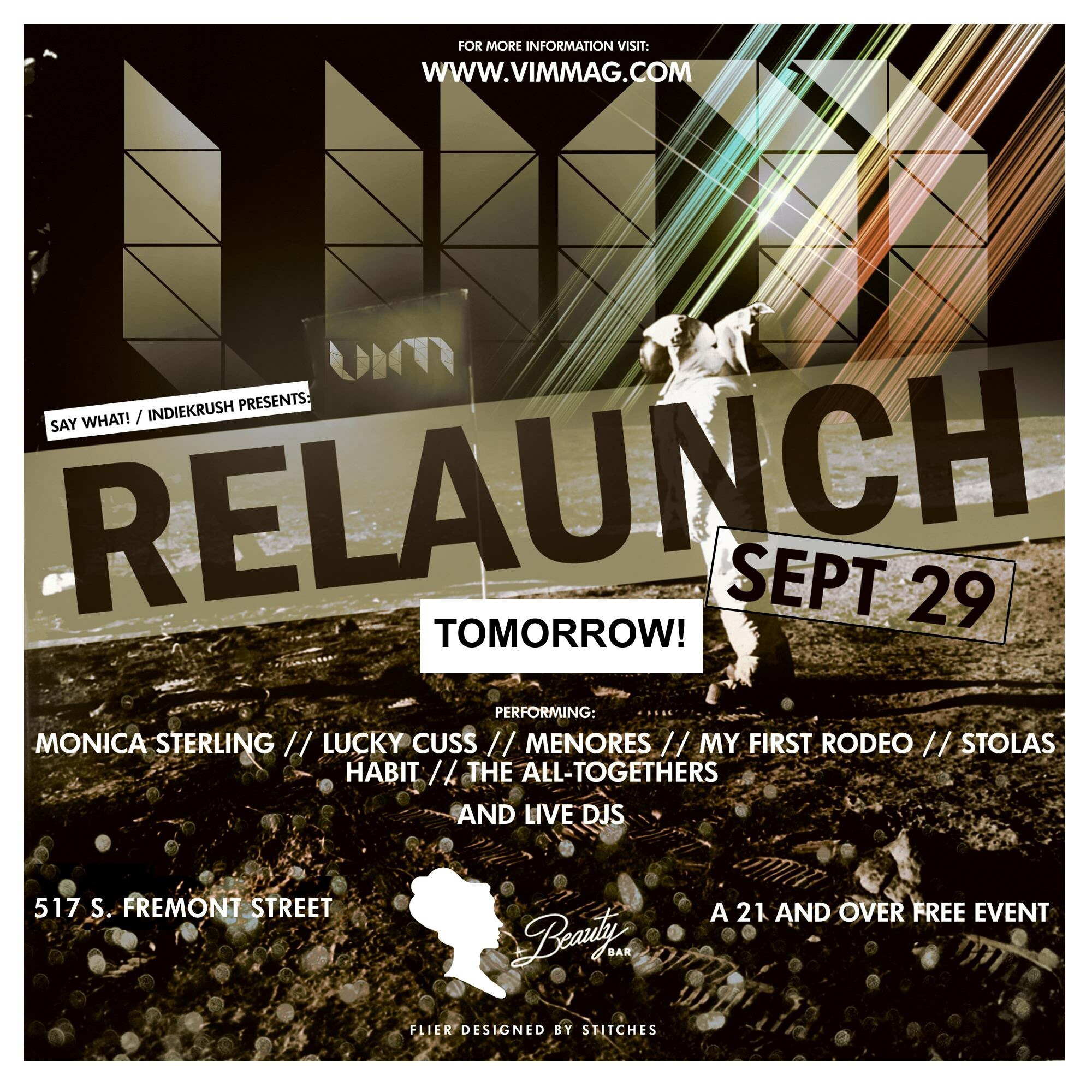 Flyer for past VIM RELAUNCH Party at Beauty Bar created by my talented brother Johnny Stitches.