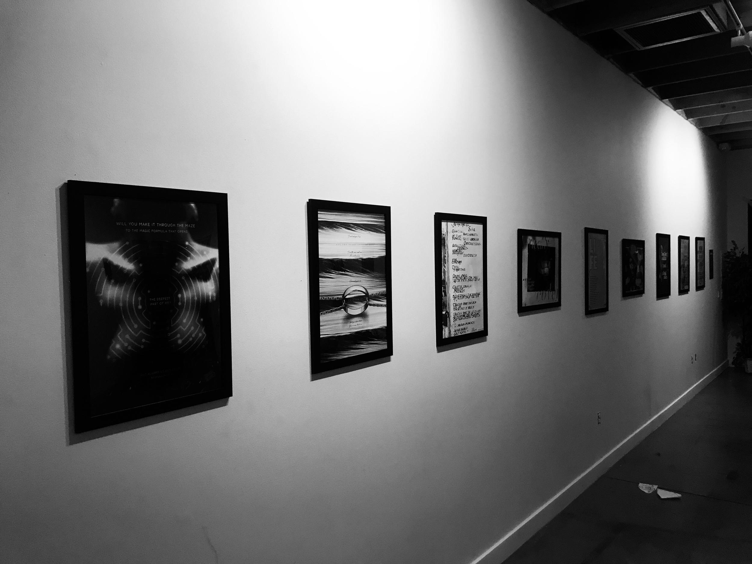 Final setup of 2019 AIGA LV Lush Collab Art Exhibition At Escape Artist Studios
