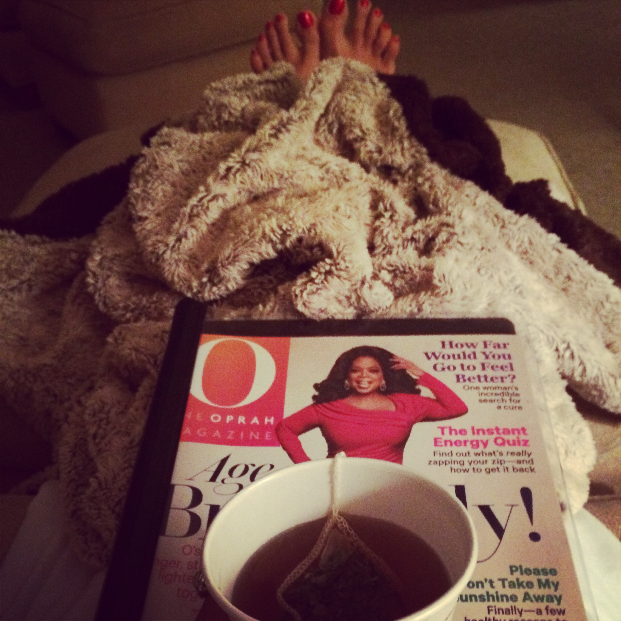 Tea and my favorite snuggly blanket at the spa.