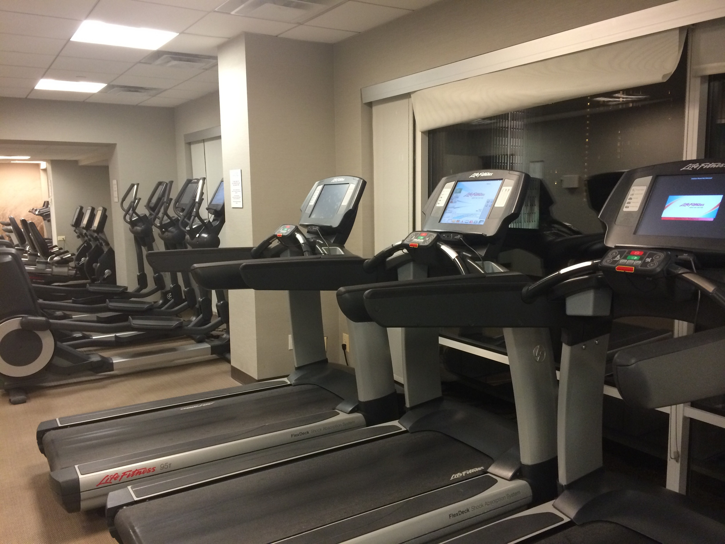 The cardio equipment selection that goes on and on in the fitness studio.