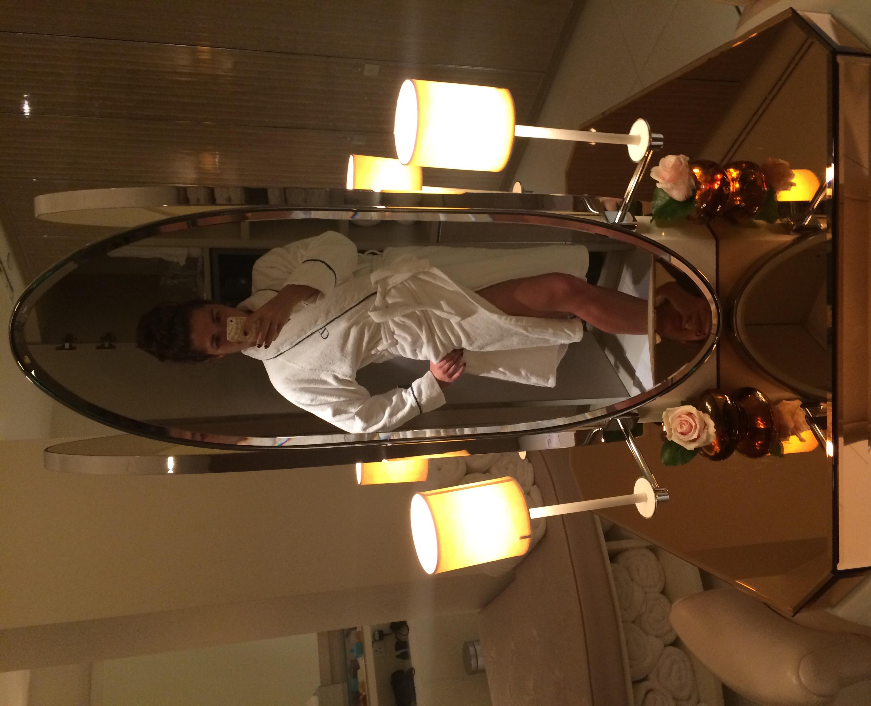 A little modeling in my fancy spa robe.