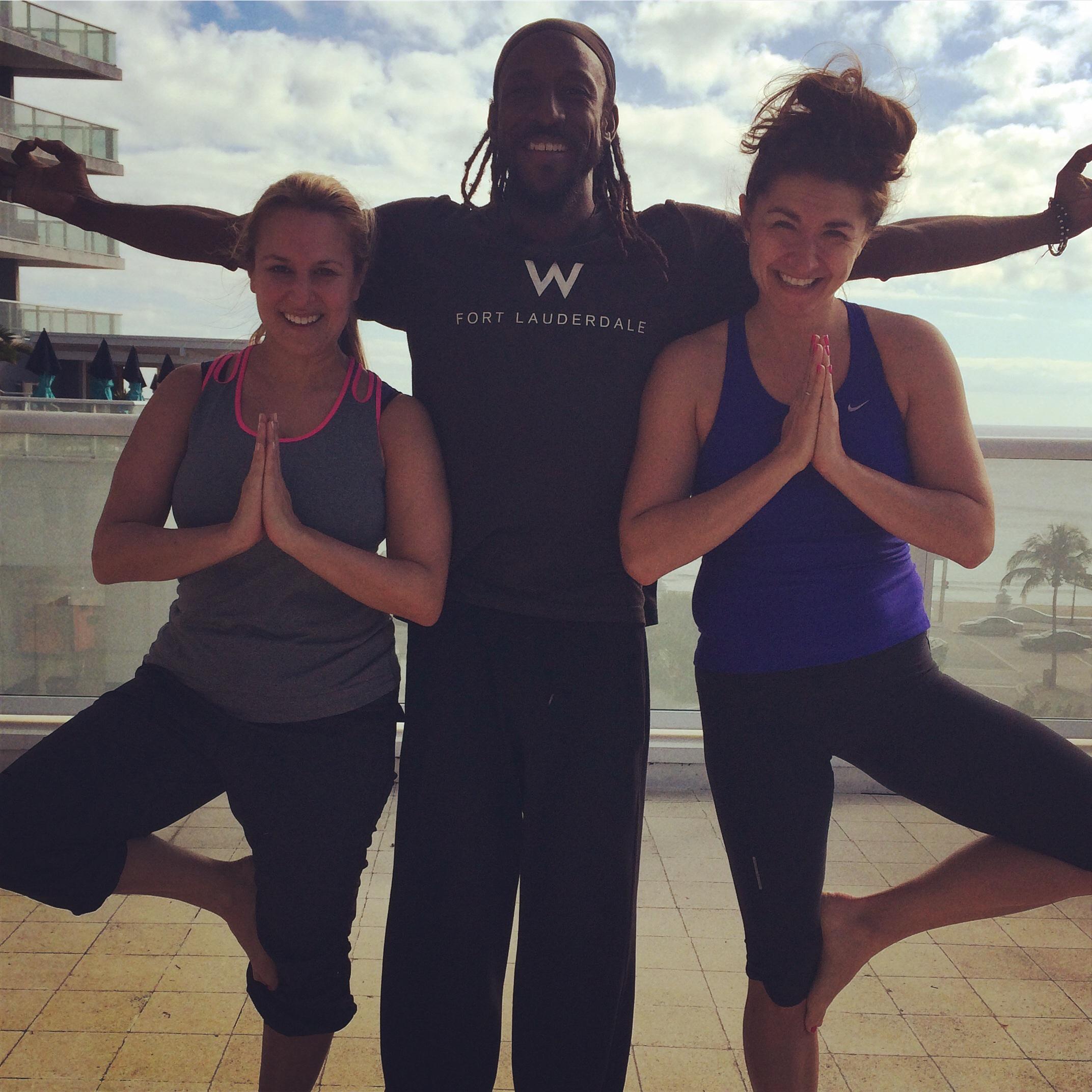 My friend (and a wonderful freelance writer), Jenny Tzeses,and I pose with the fabulous Eugene post-yoga class.