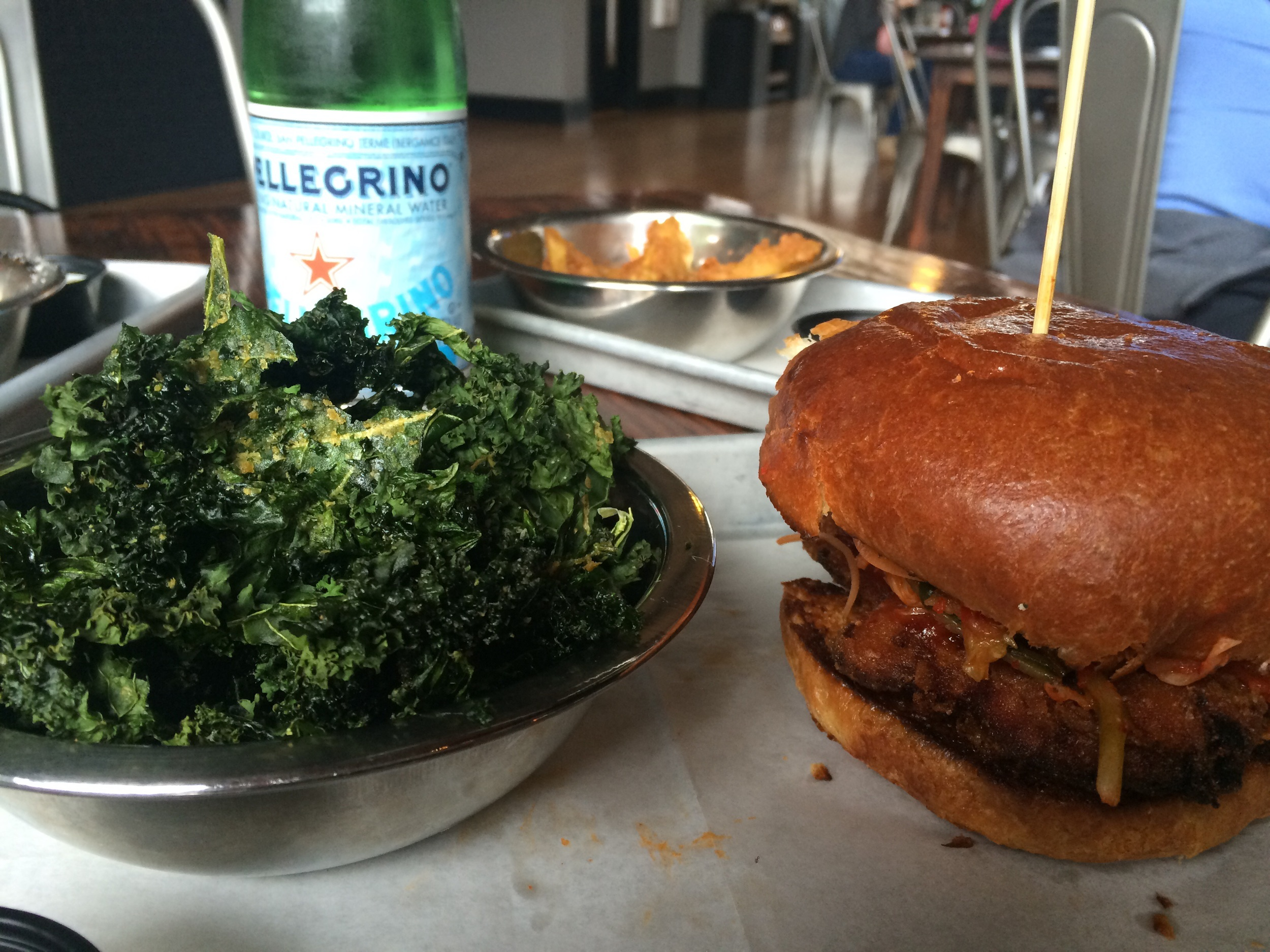 The kale chips and Korean Fried Chicken sammy.