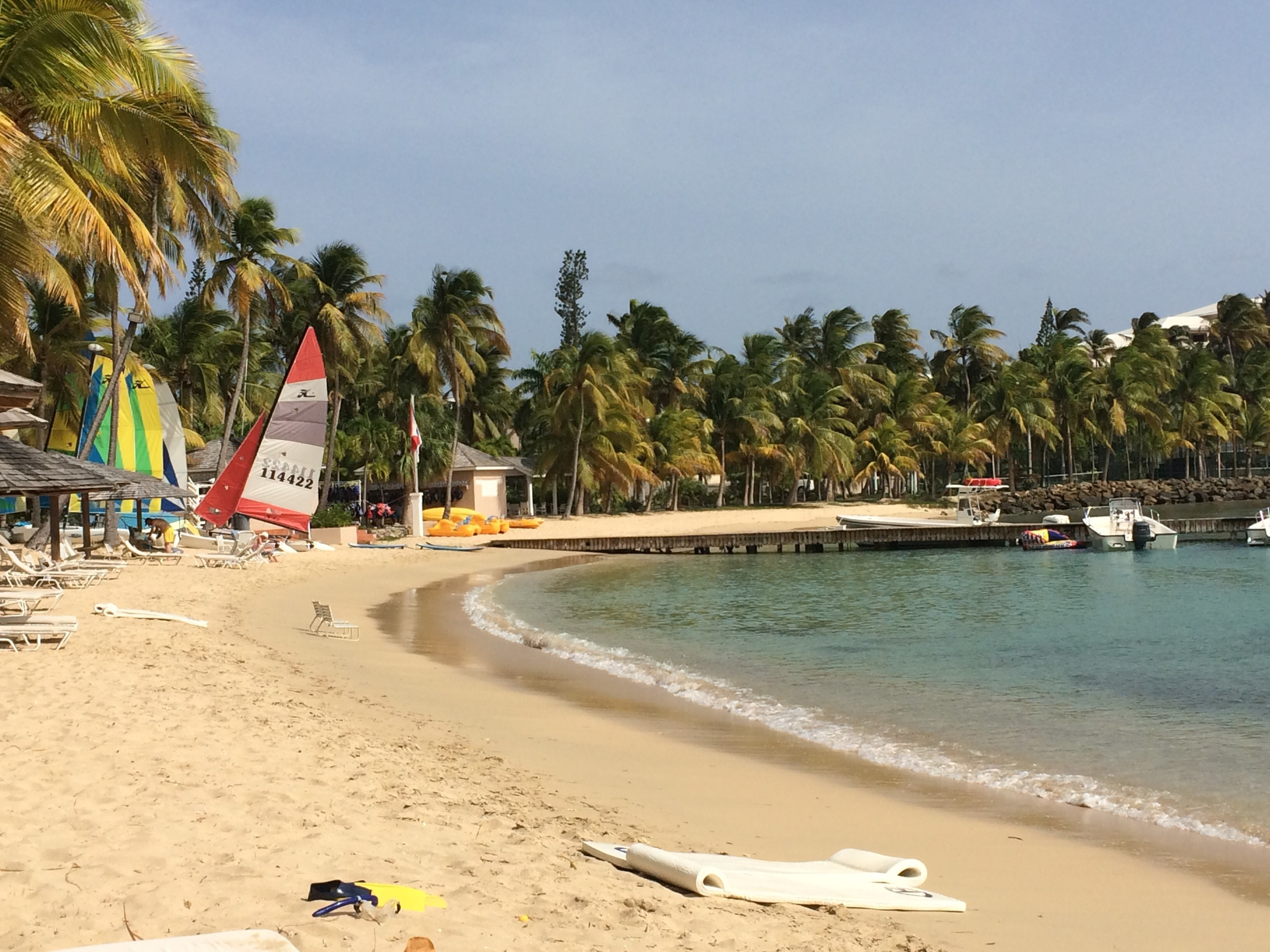 The bay at Curtain Bluff where I tried my hand at stand-up paddle boarding.
