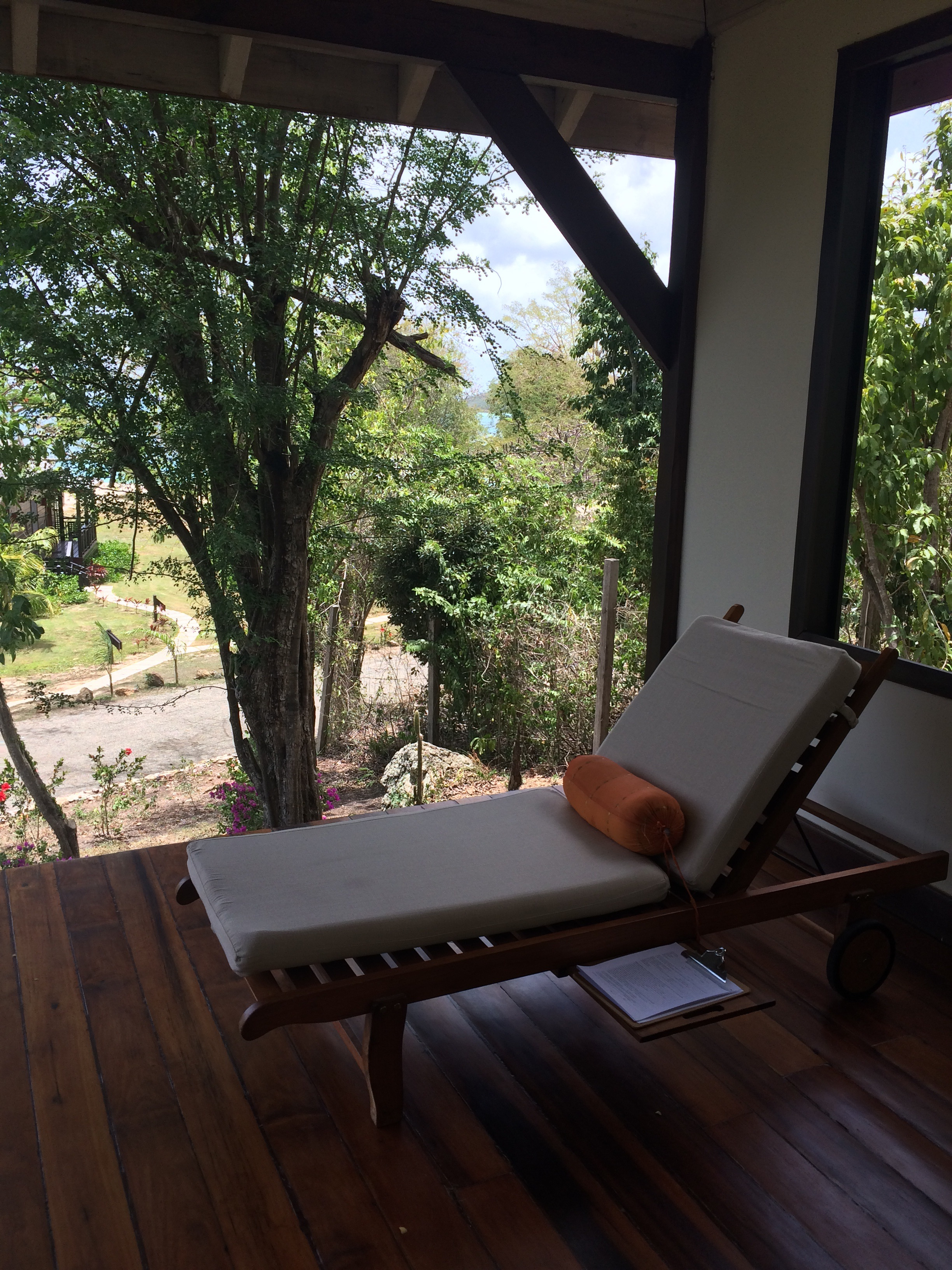 The open-air relaxation room at the Hermitage Bay spa.