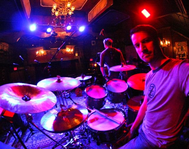 Paulo Almeida preparing to play with the Titanics at the Cutting Room, NYC