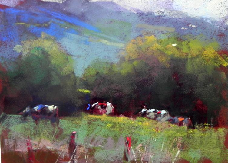 """E. Montpelier Cows   12"""" x 9"""""""