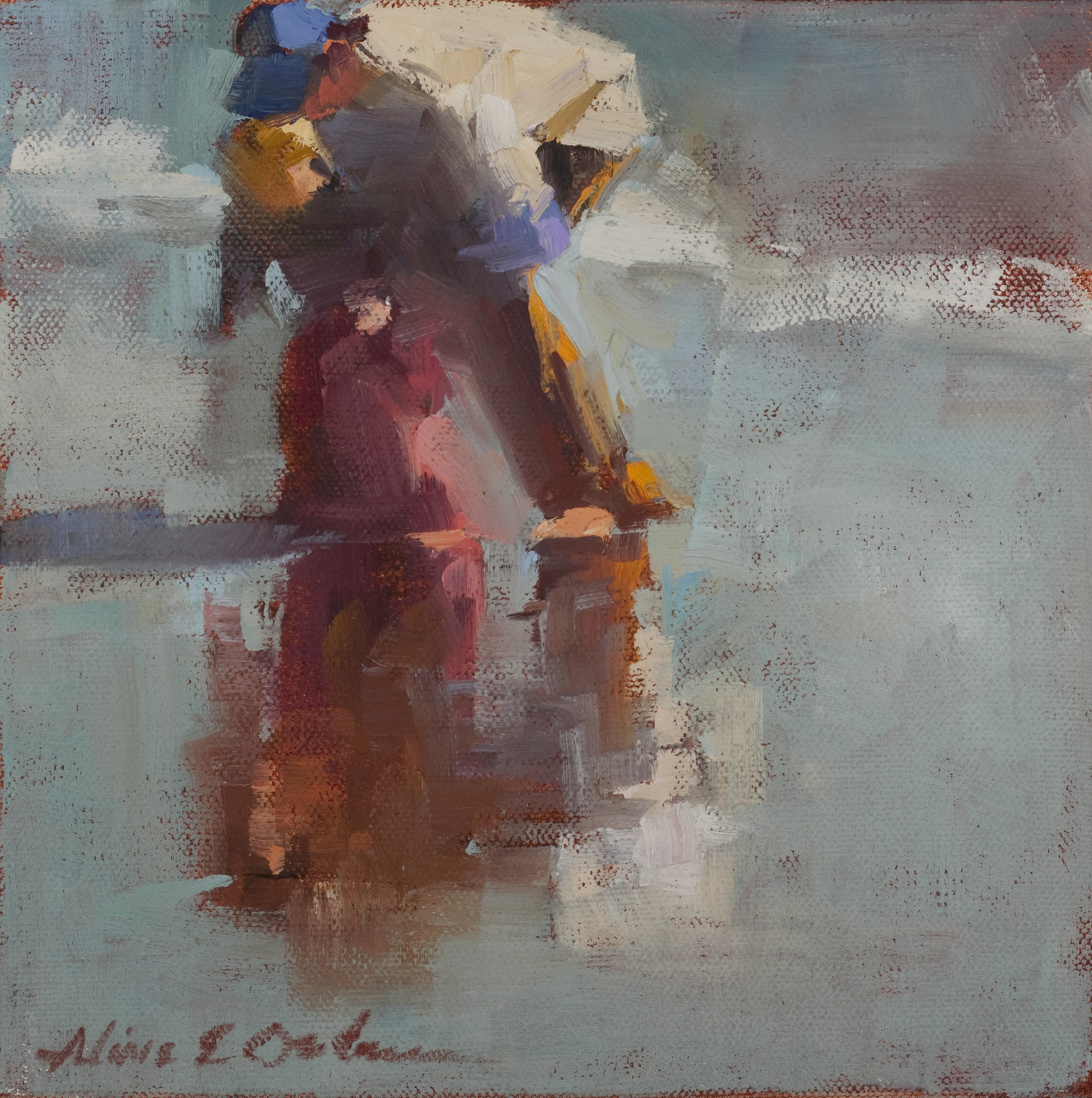 """Dad and Son  oil  8"""" x 8"""" SOLD"""