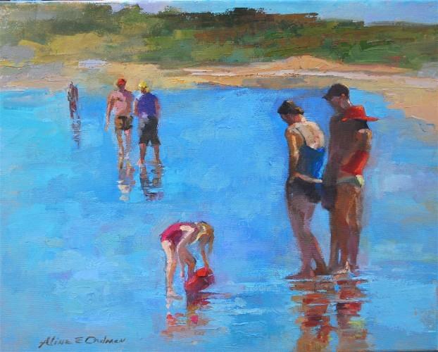 """Beach Play   oil   16"""" x 20"""""""