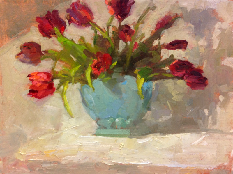 """Tulips and Blue Vase  oil   12"""" x 16"""""""