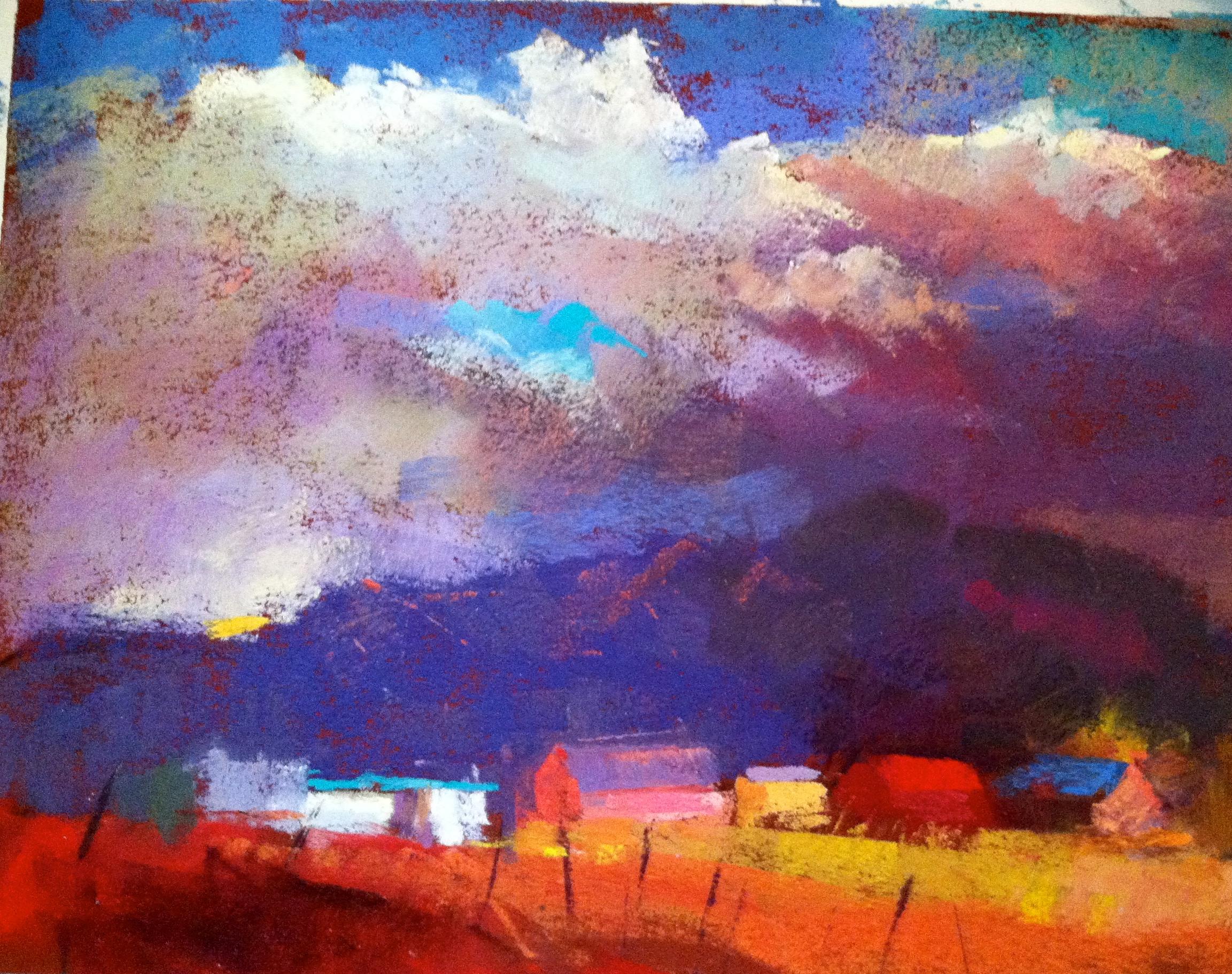 Truchas sky  9 x 12 pastel