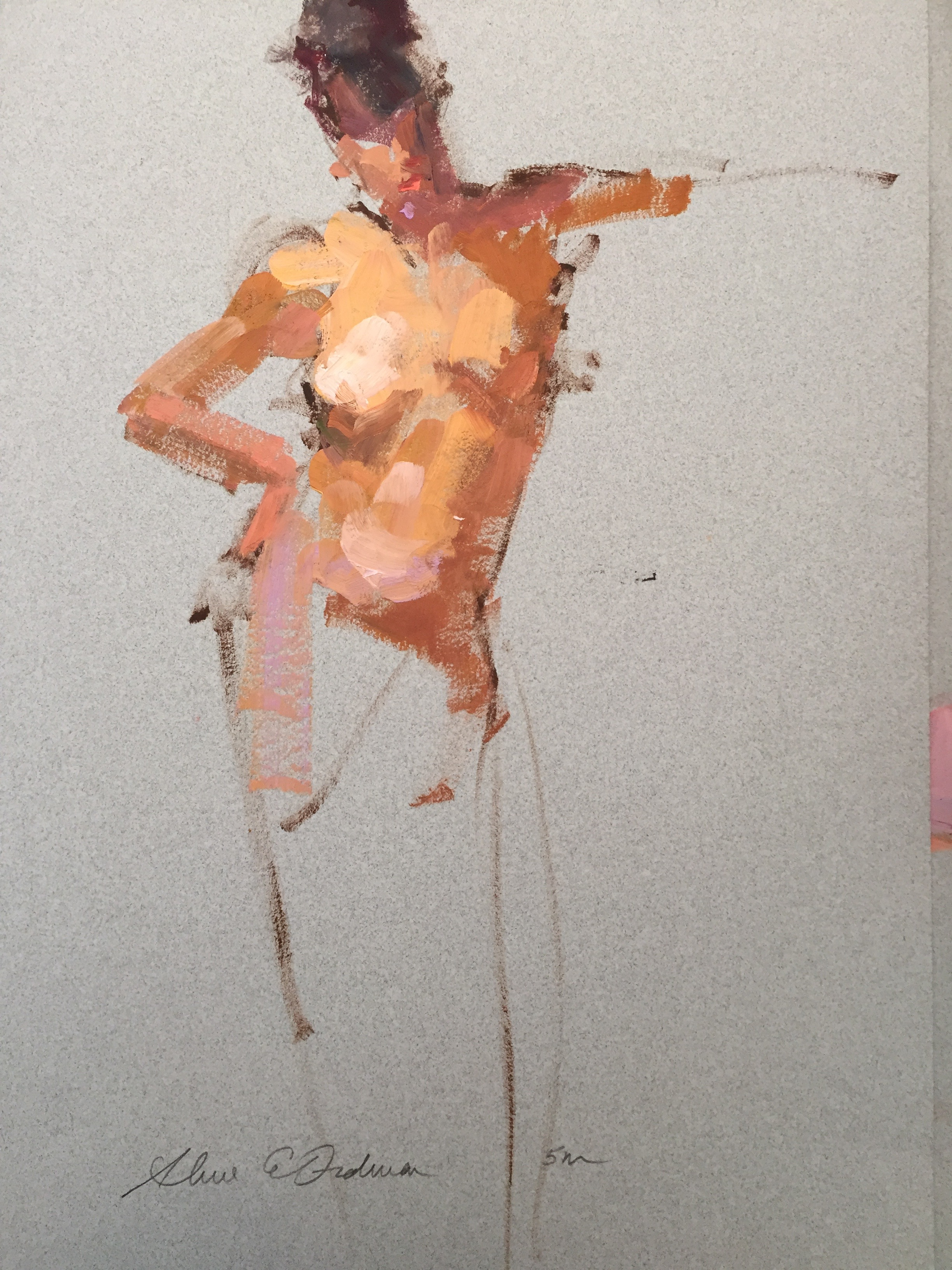 5 minute pose oil on paper