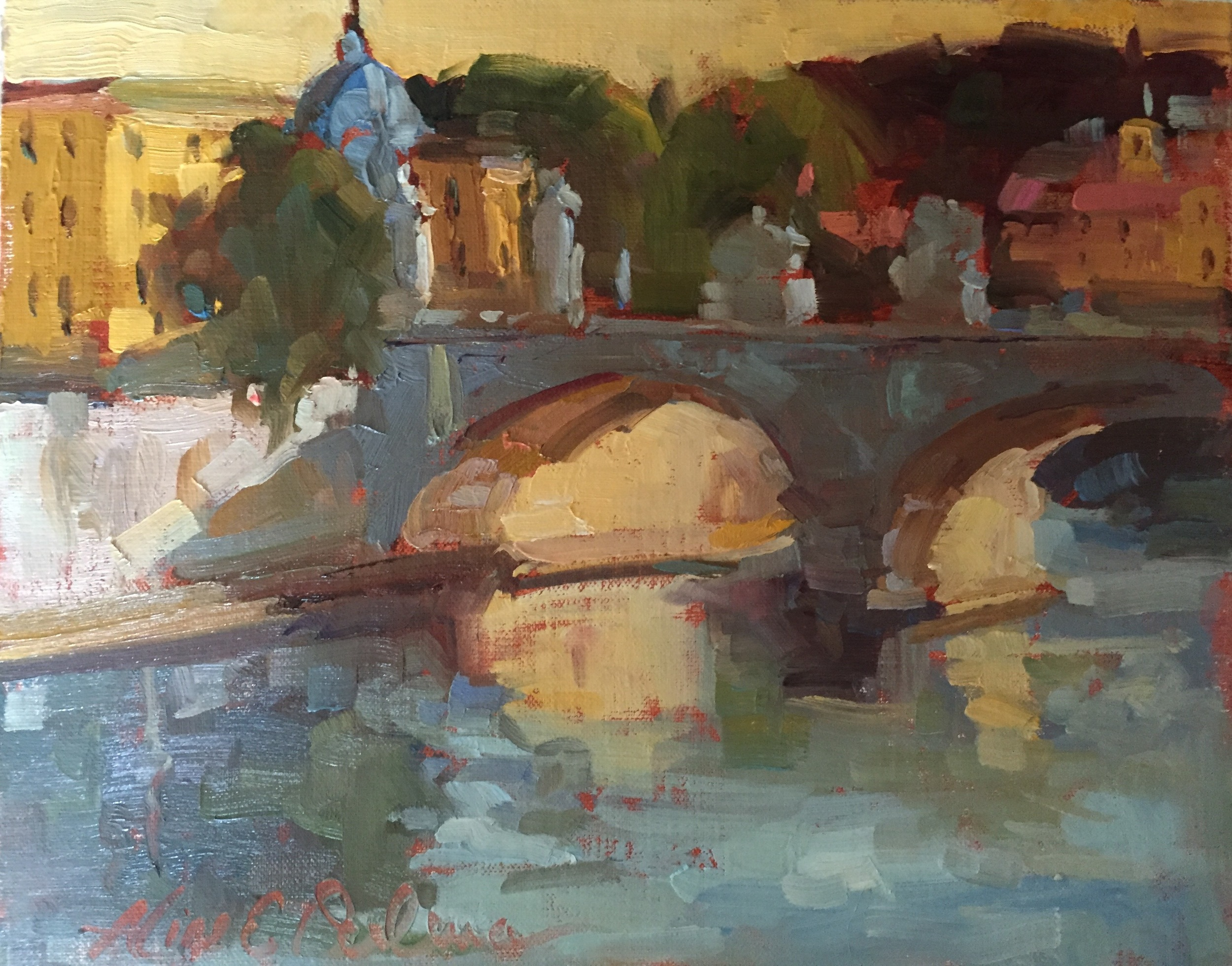 Roman Bridge over the Tiber  o/b 8 x 10