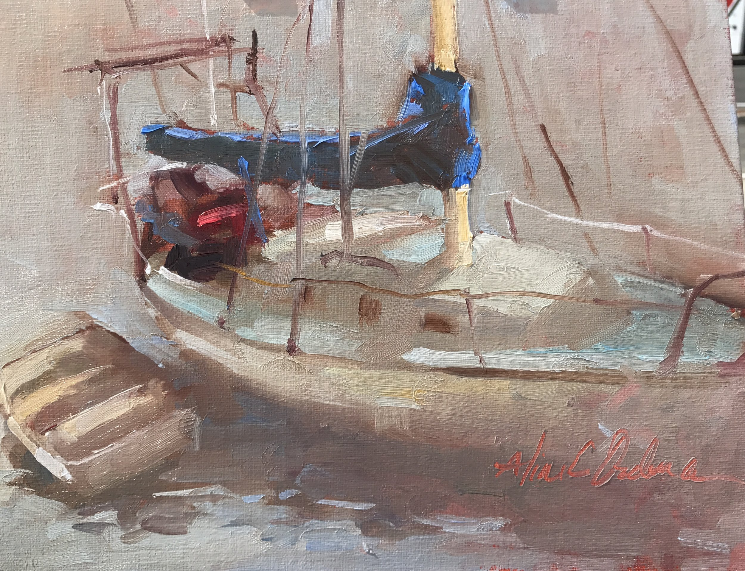 Foggy Day Boat  8 x 10 oil on board