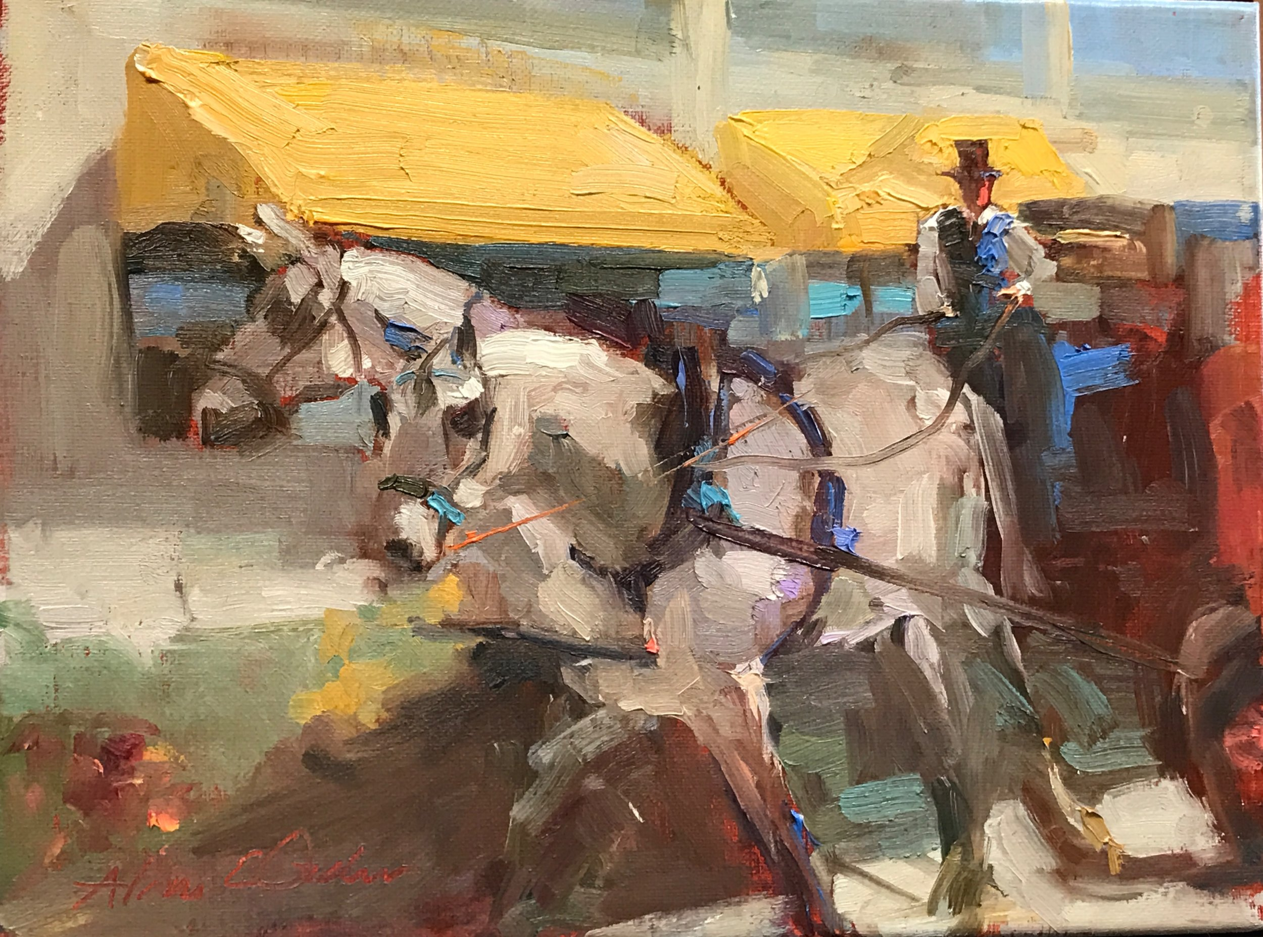 Yellow Awning  9 x 12 oil on canvas