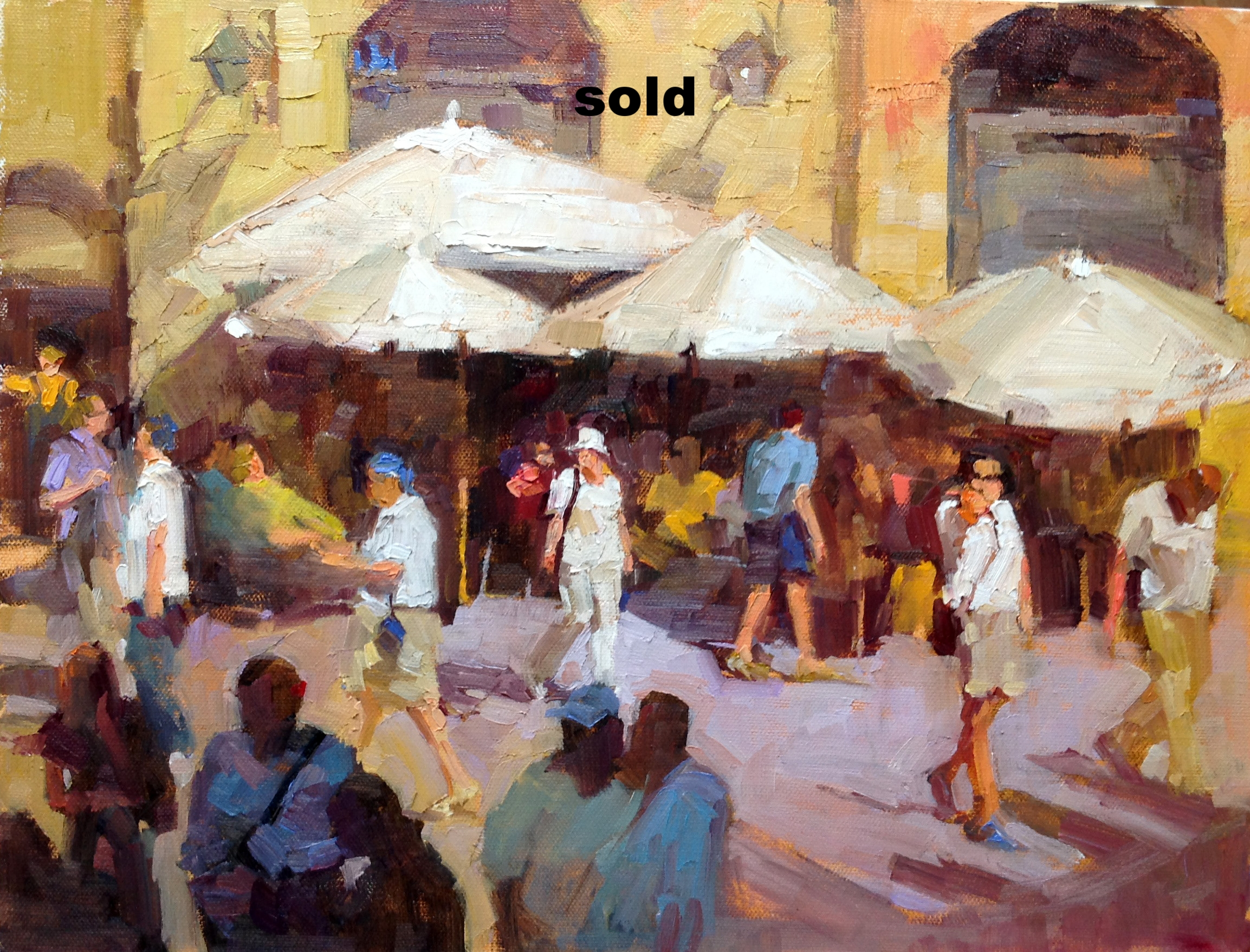 """Tourists   oil  12"""" x 16"""" SOLD"""