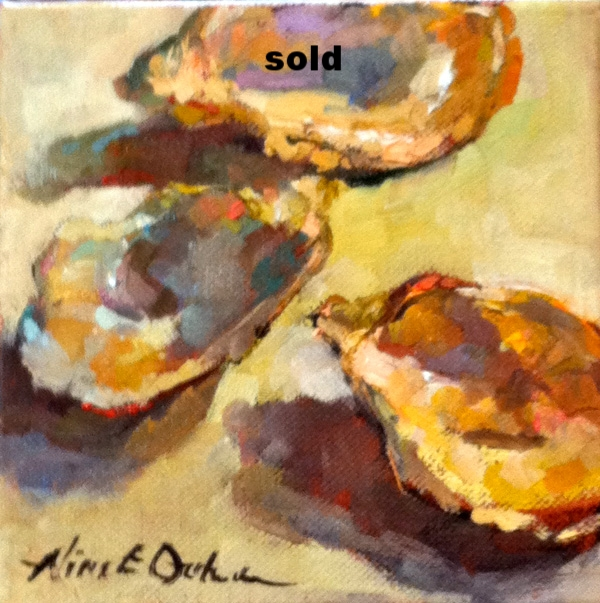 Oyster shells oil 6 x 6 SOLD