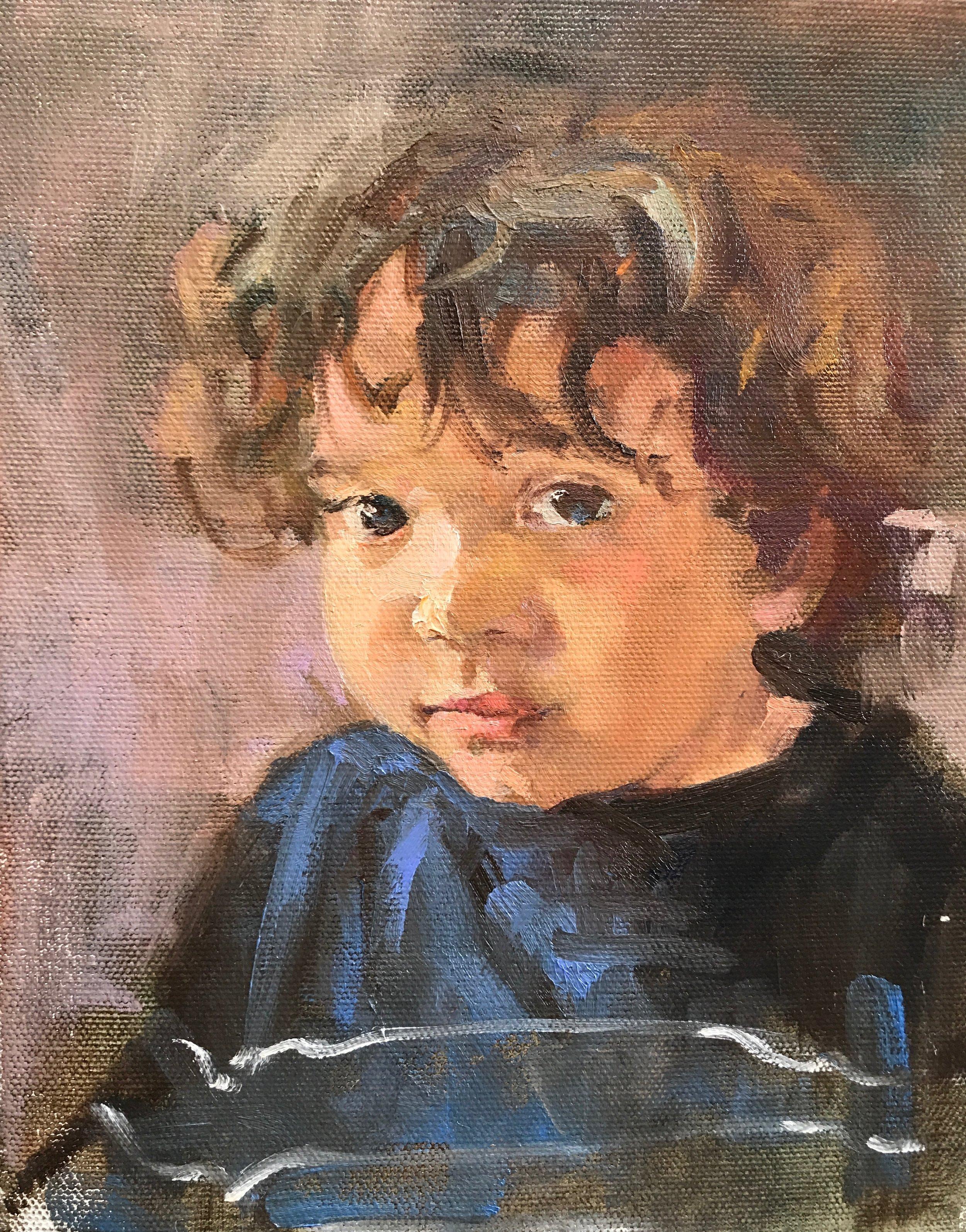 Niece's nephew  8 x 10 oil on canvas