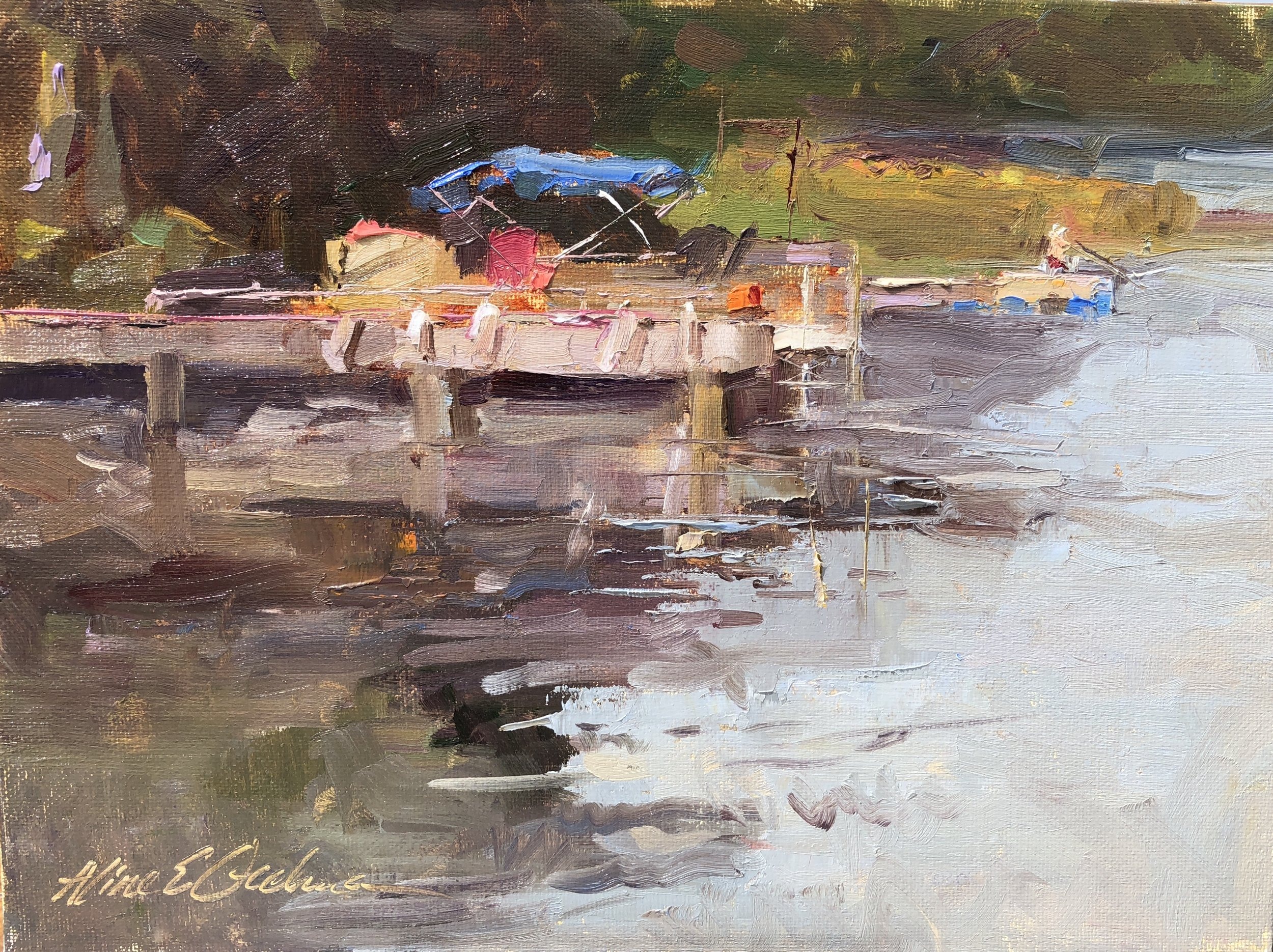 Martin's Pond Pontoon  8 x 11 oil on board