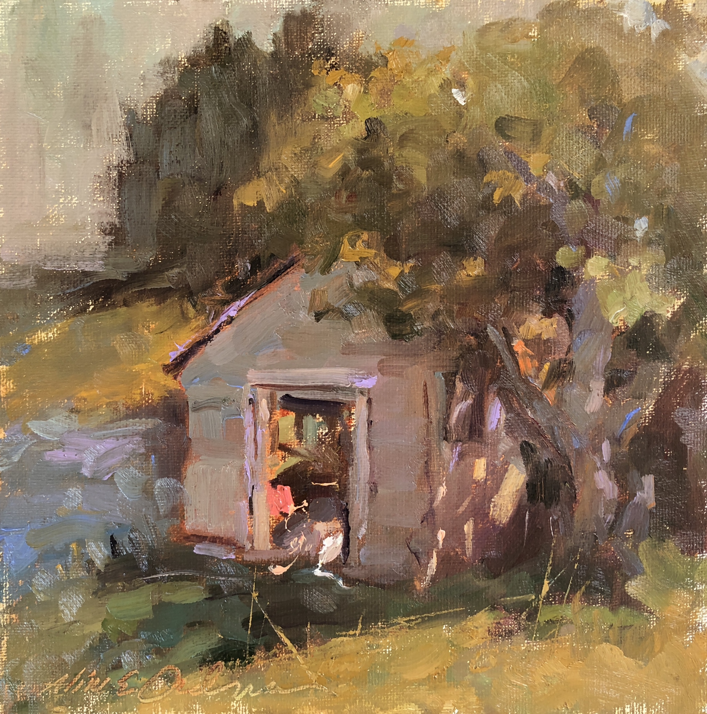 Little Shack 8 x 8 oil on board
