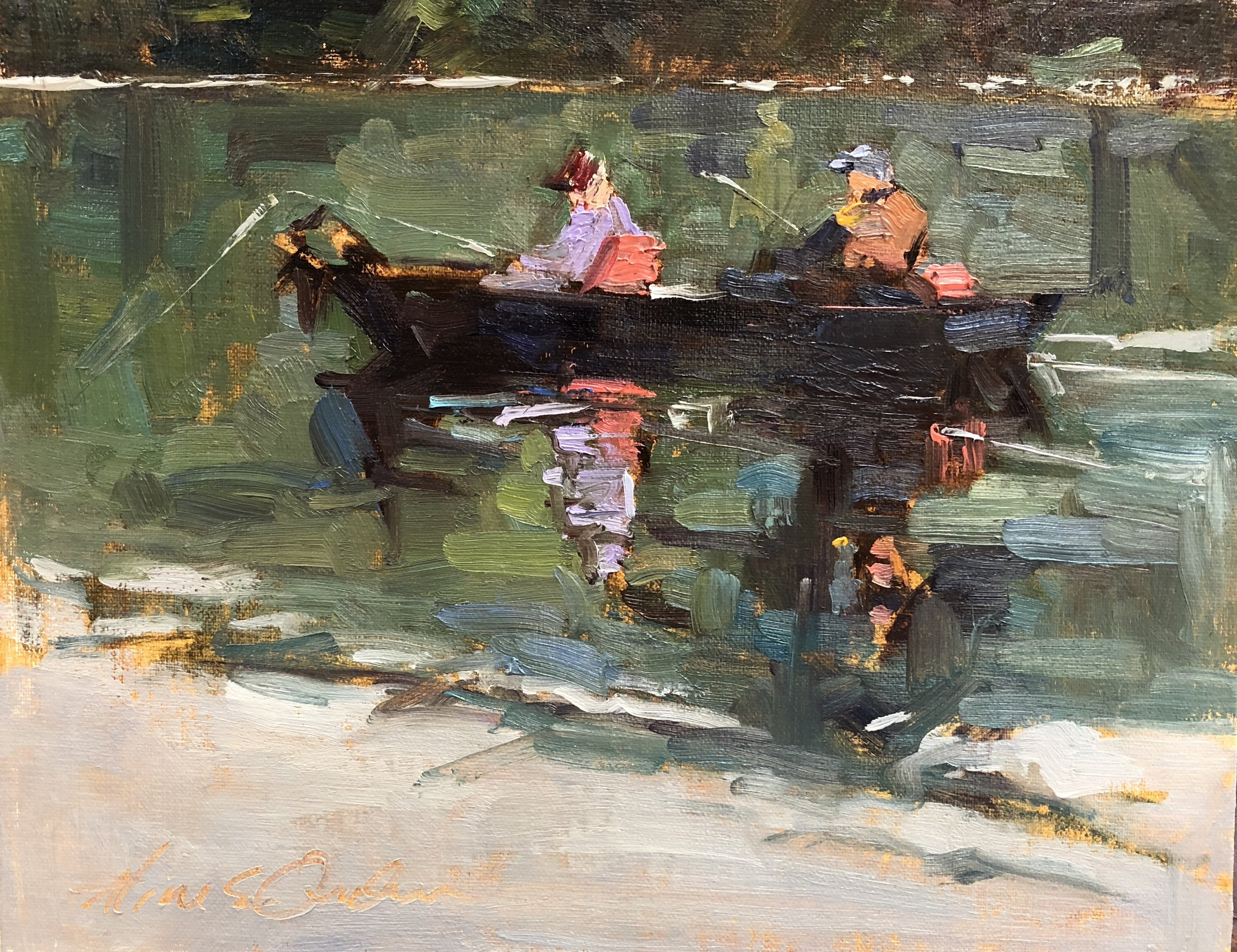 Peacham Fishing  8 x 10 oil on board