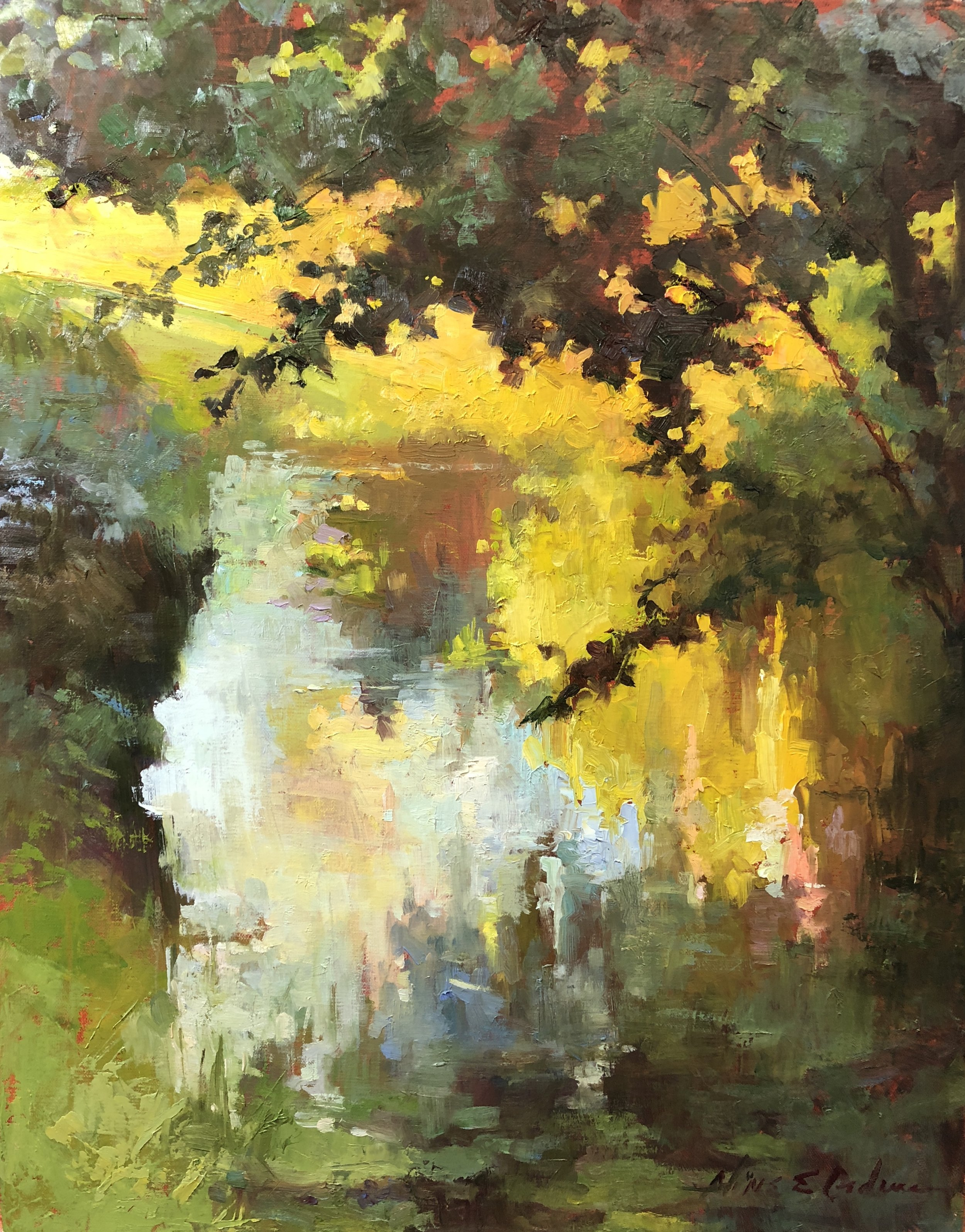 Pond Overhang  16 x 20 oil on canvas