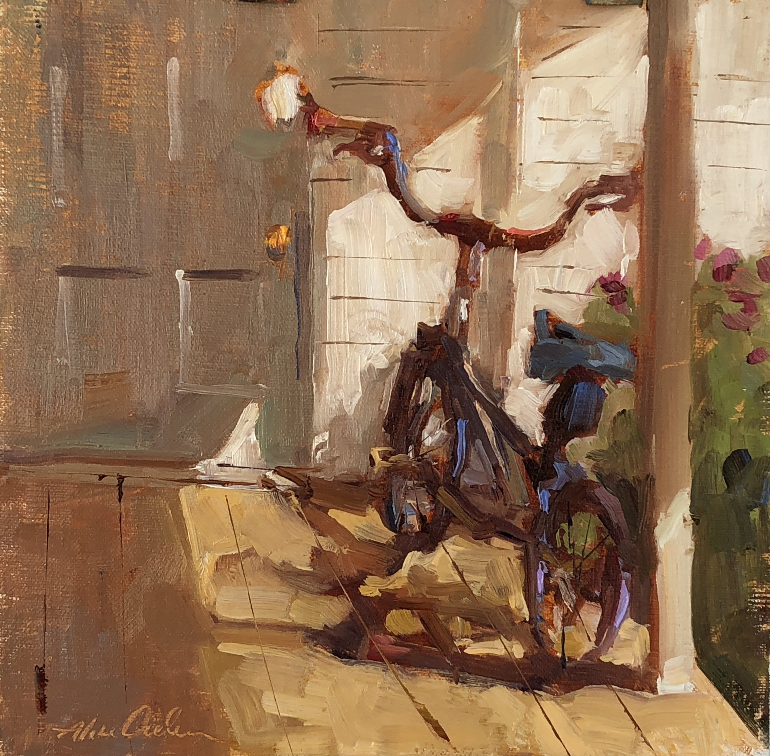 Bicycle  8 x 8 oil on board
