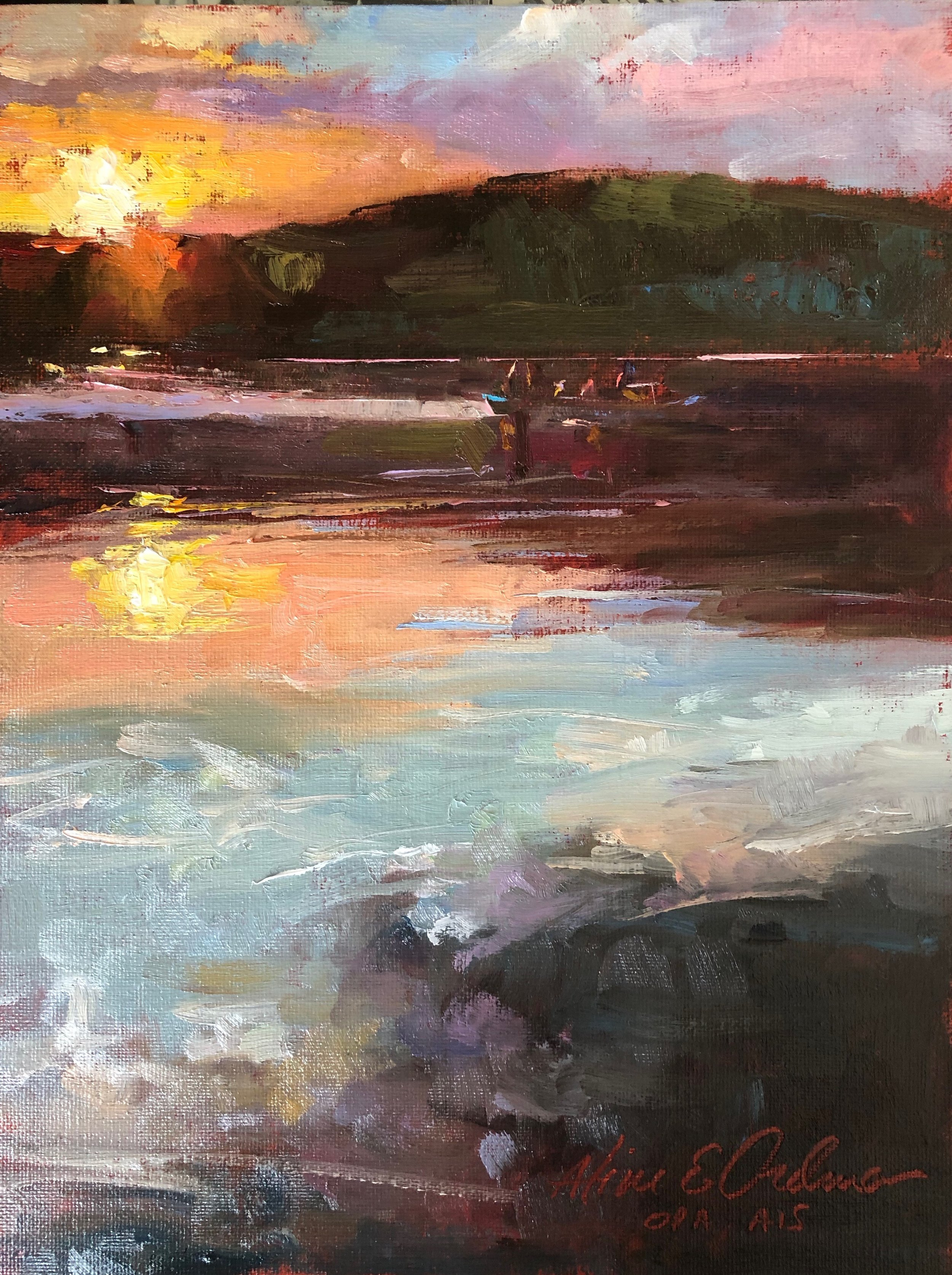 Sunset Paddle 9 x 12 oil