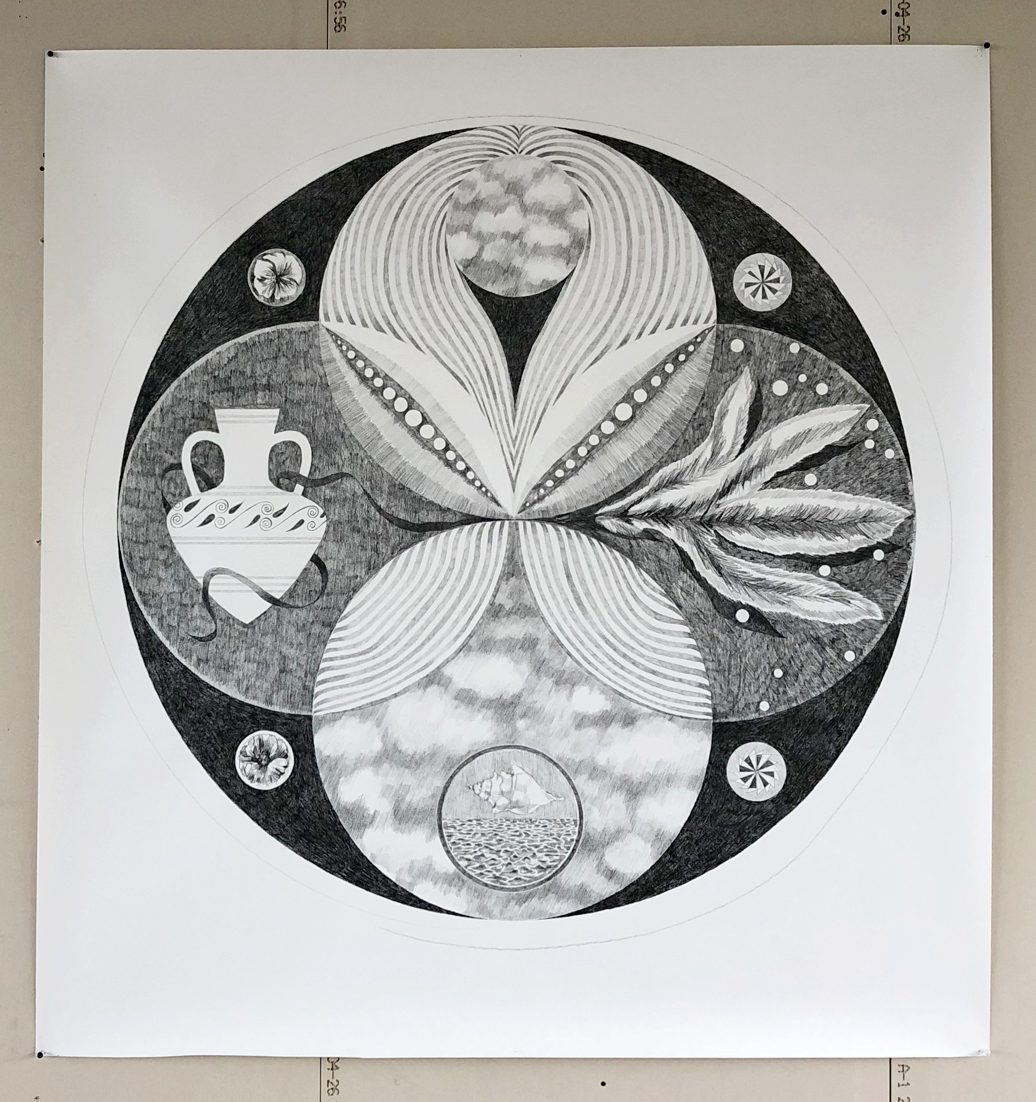 Lighten your light darken your dark / pencil and black crayon on paper 150 x 150 cm