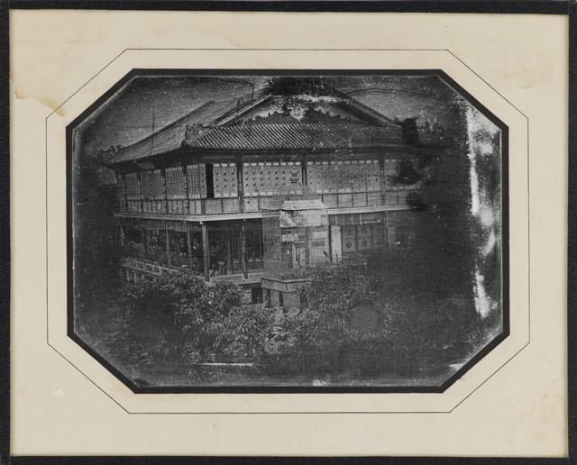 Principal corps de logis de la maison de campagne de Paw-ssé-tchen grand mandarin de 1er classe bouton rouge plume de paon, au-dessus de Canton, novembre 1844, daguerréotypie