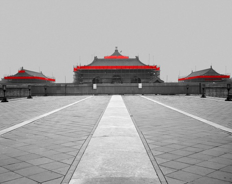 The Red and the Black - 18, The Temple of Heaven, Beijing, 2006, Digital C-print