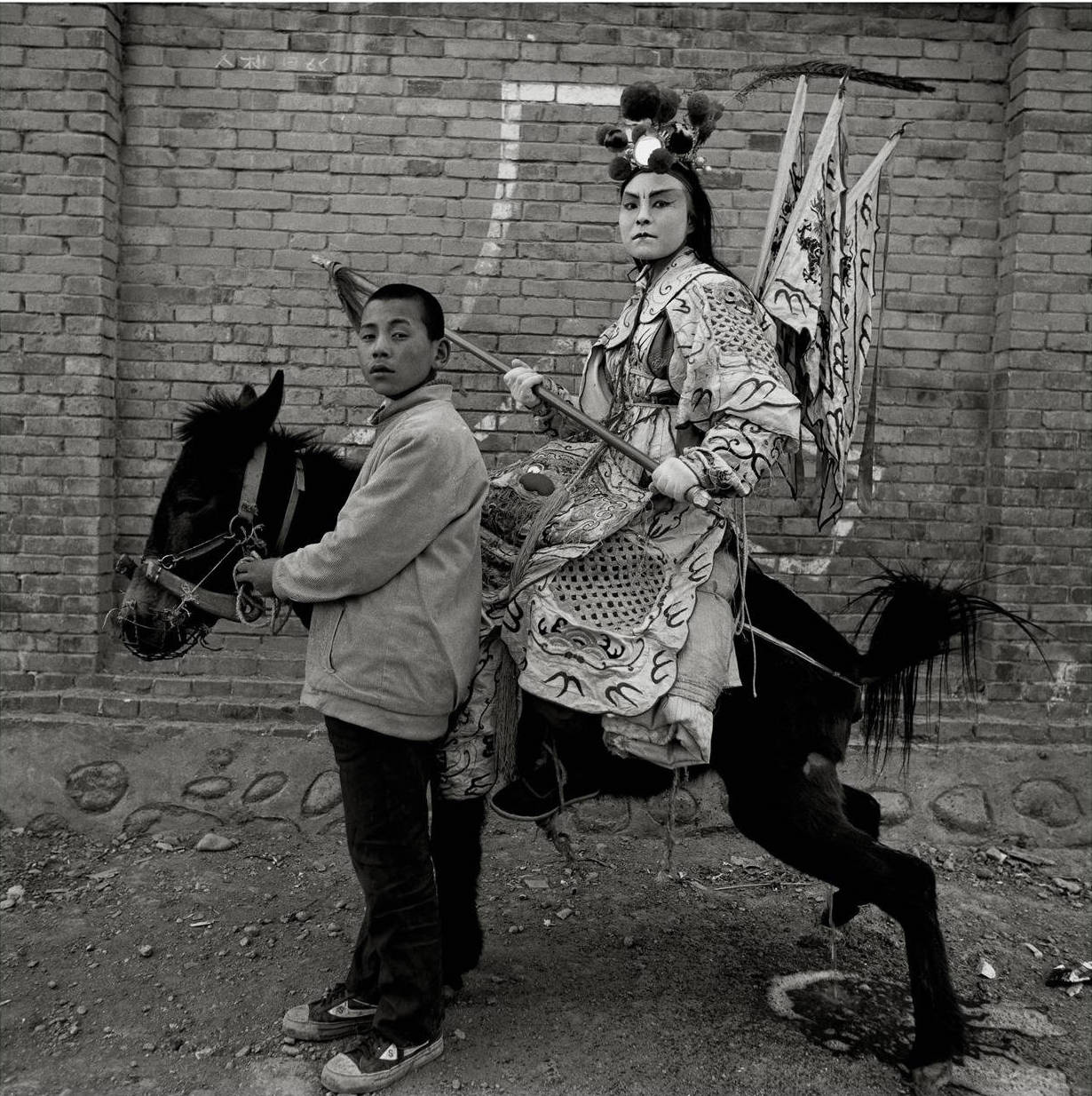 Warrior On Donkey, Longxian, Shaanxi Province, 1999, Gelatin silver print