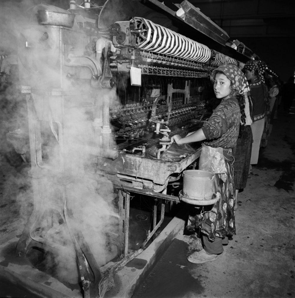 Xinjiang Girl Working in a Textile Factory, Hetian, Xinjiang Province, 1996, Archival inkjet print