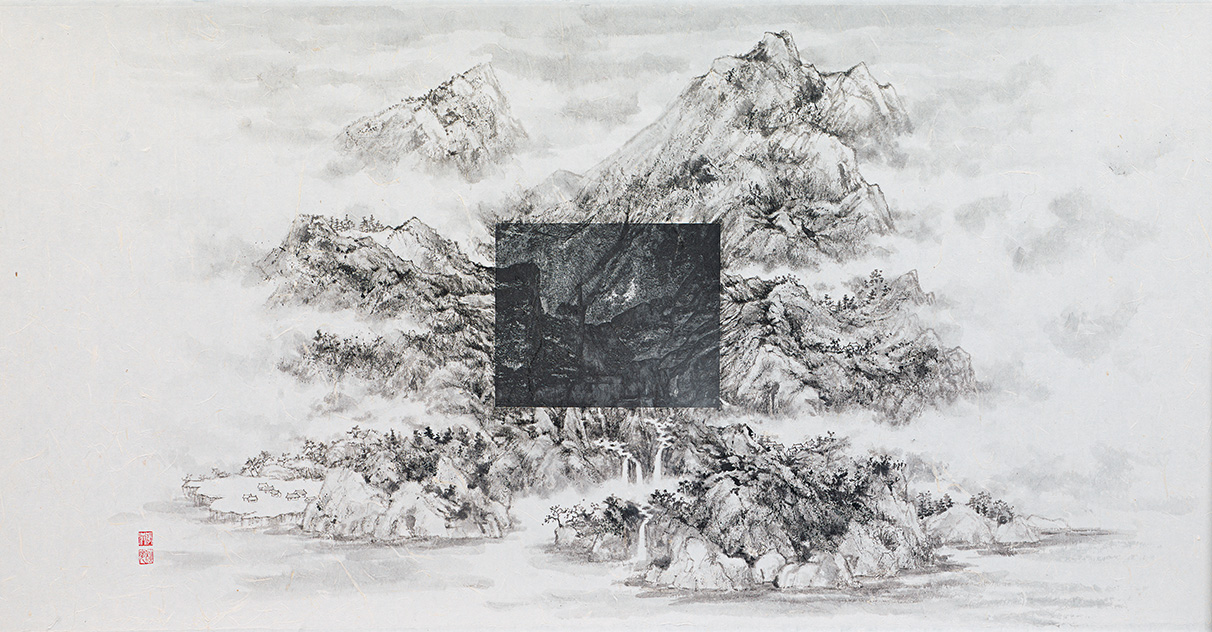"""Michael Cherney & Arnold Chang, """"After Wang Jiqian"""", photography and ink on xuan paper, 2016"""