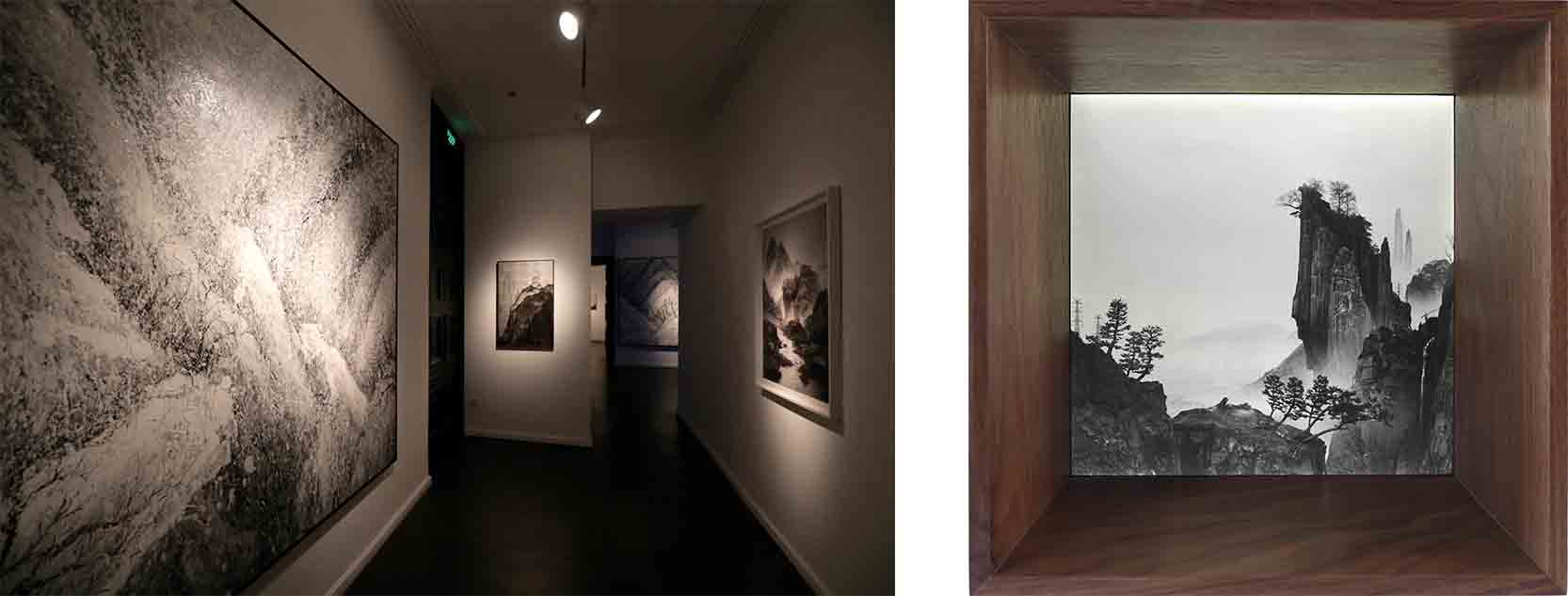 Left: Matthew Fine Arts, exhibition view Right: Yang Yongliang, The Immemorial - The Cliff, 2016, film on lightbox