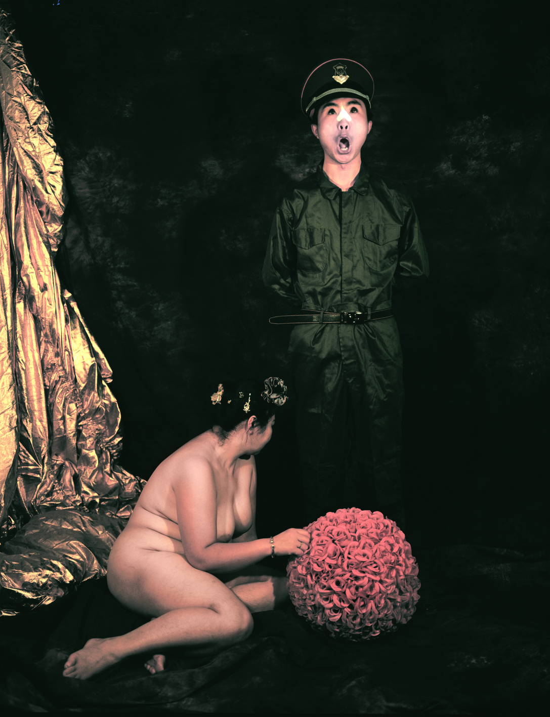 A Naked Woman with a  Chinese Clown Man, 2008, 150x120cm